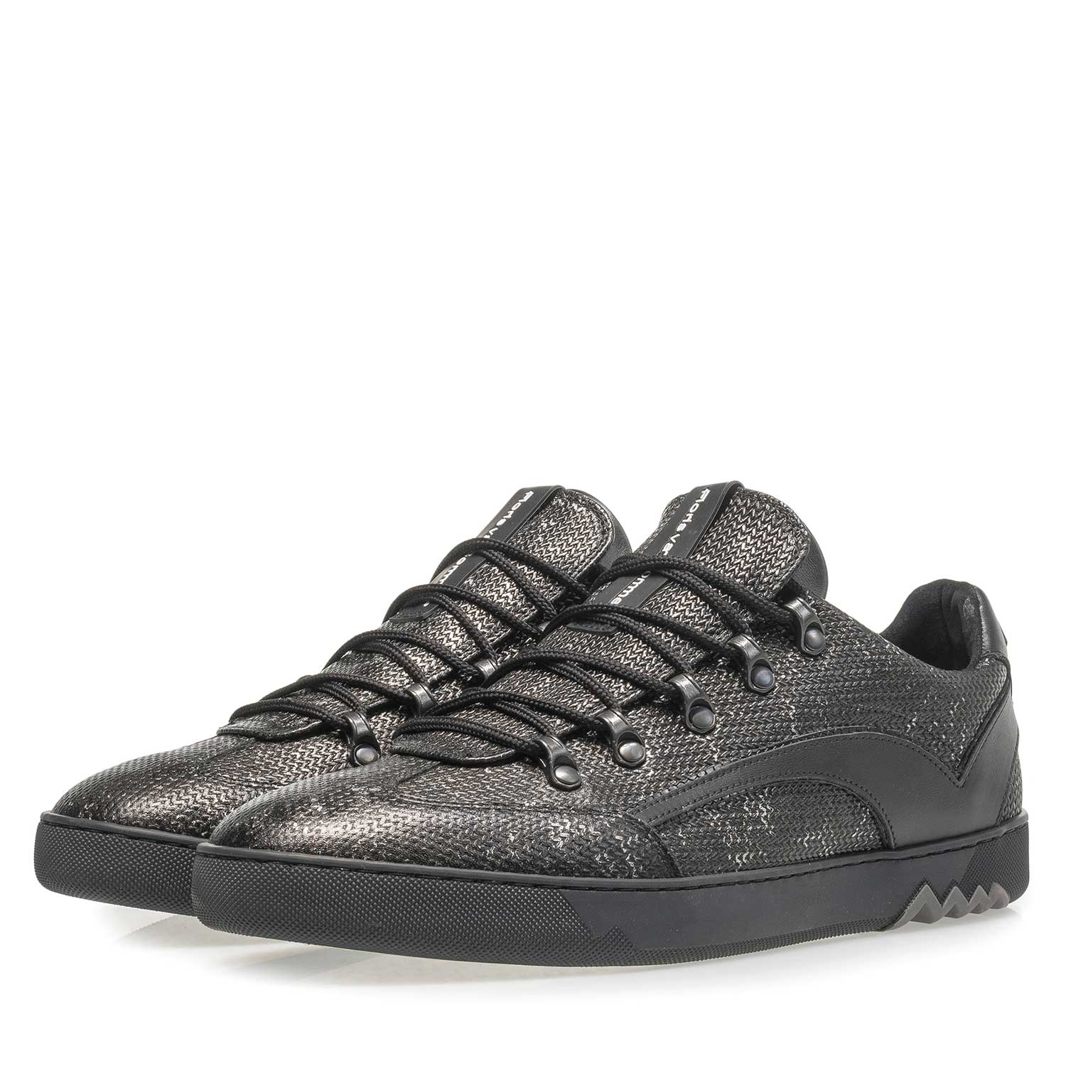 16464/03 - Dark grey leather lace shoe with metallic print