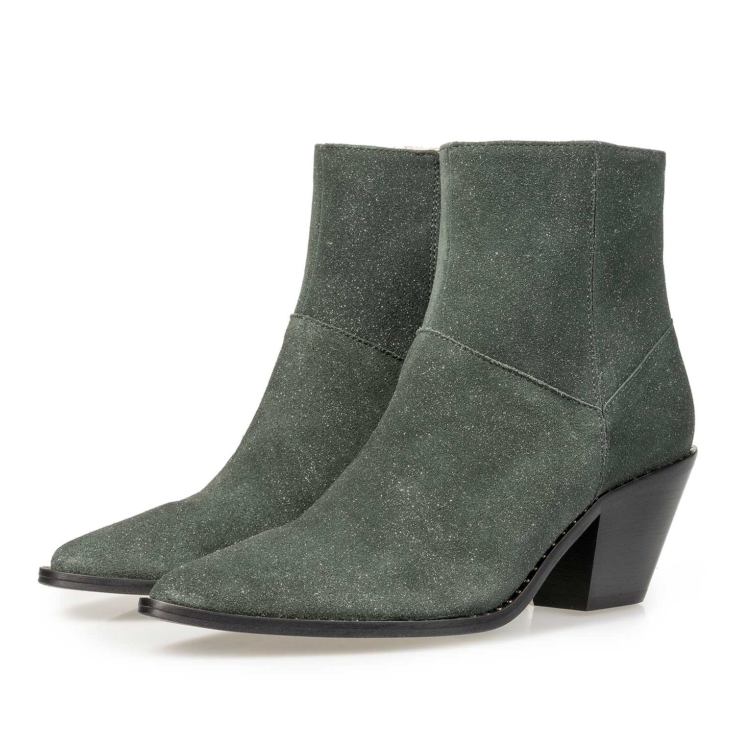 85617/01 - Olive green Western boot with glitter effect