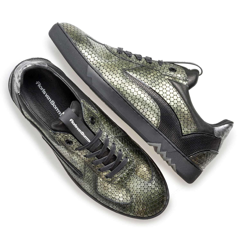 Leather sneaker with metallic print – green – 1624208