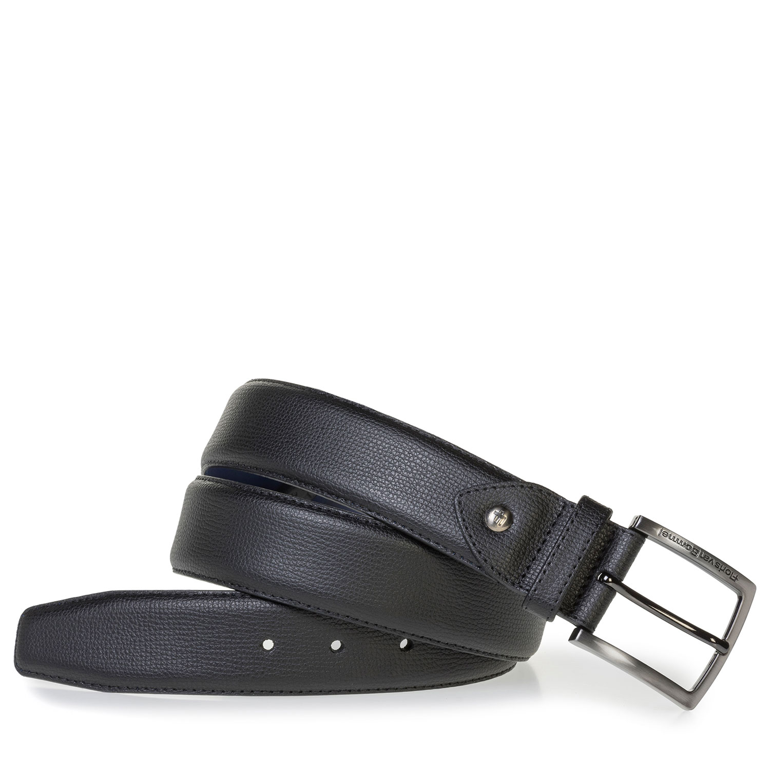 75202/48 - Black leather belt with print
