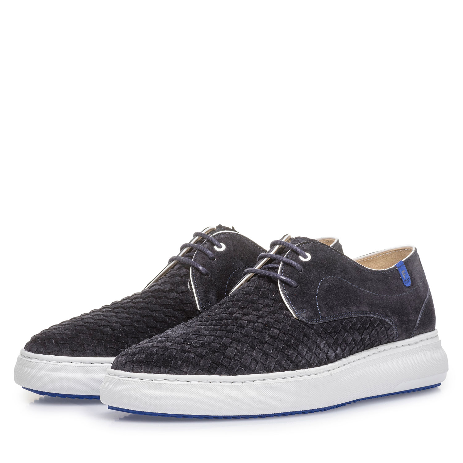 18401/00 - Dark blue lace shoe with braided suede leather