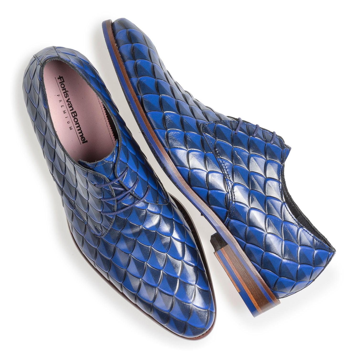 18167/03 - Premium blue leather lace shoe with print