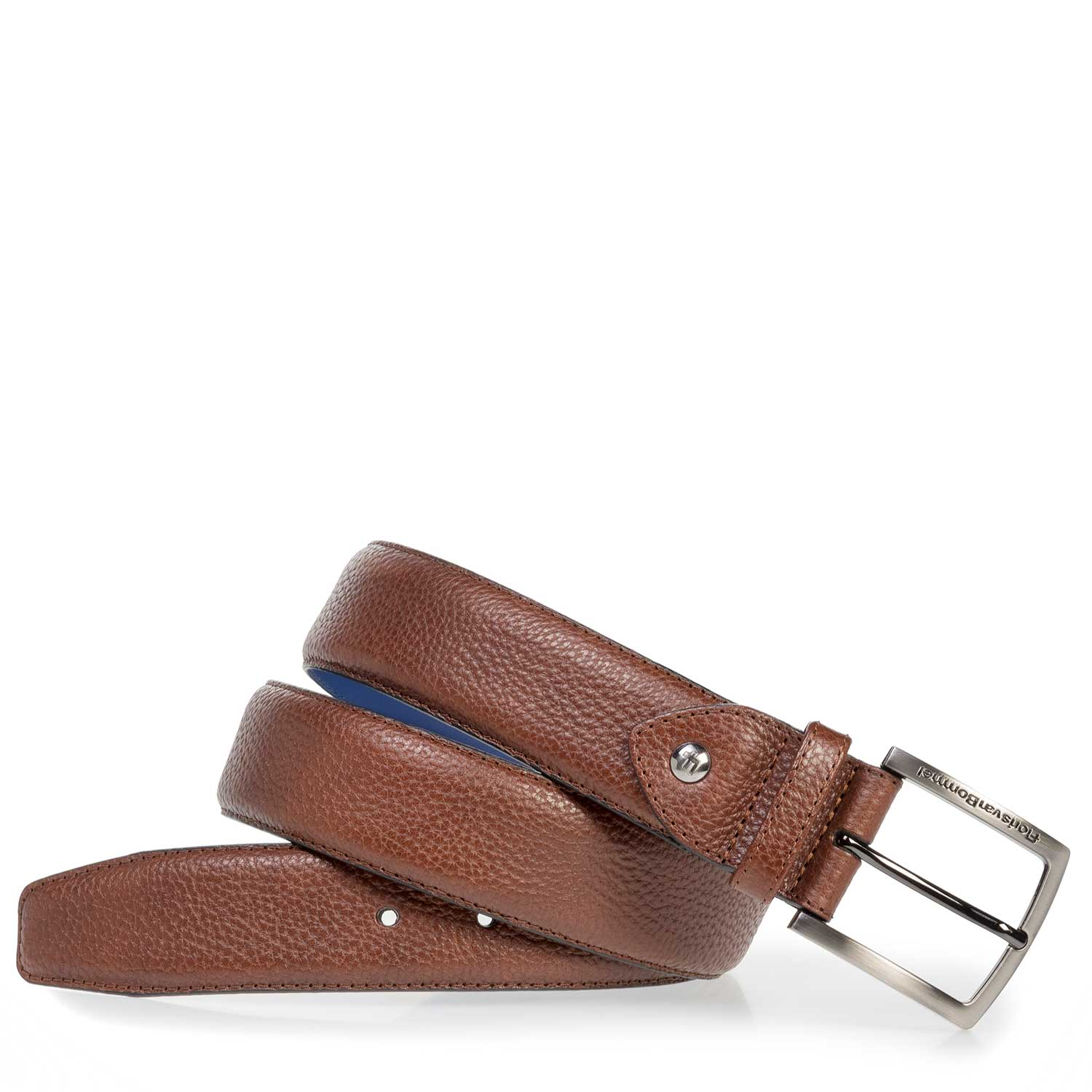 75202/11 - Cognac-coloured leather belt with print