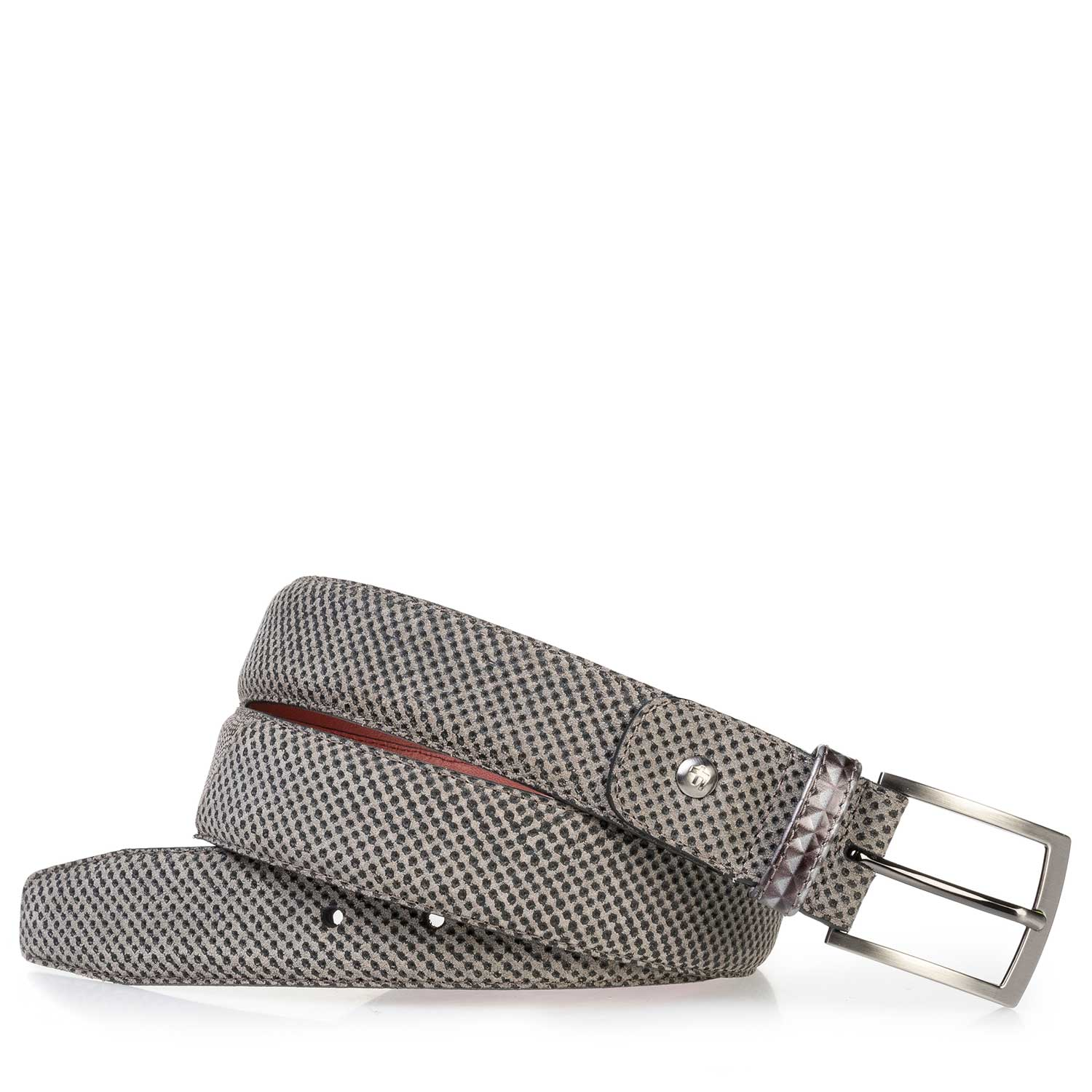 75188/22 - Taupe-colored suede leather belt with a print