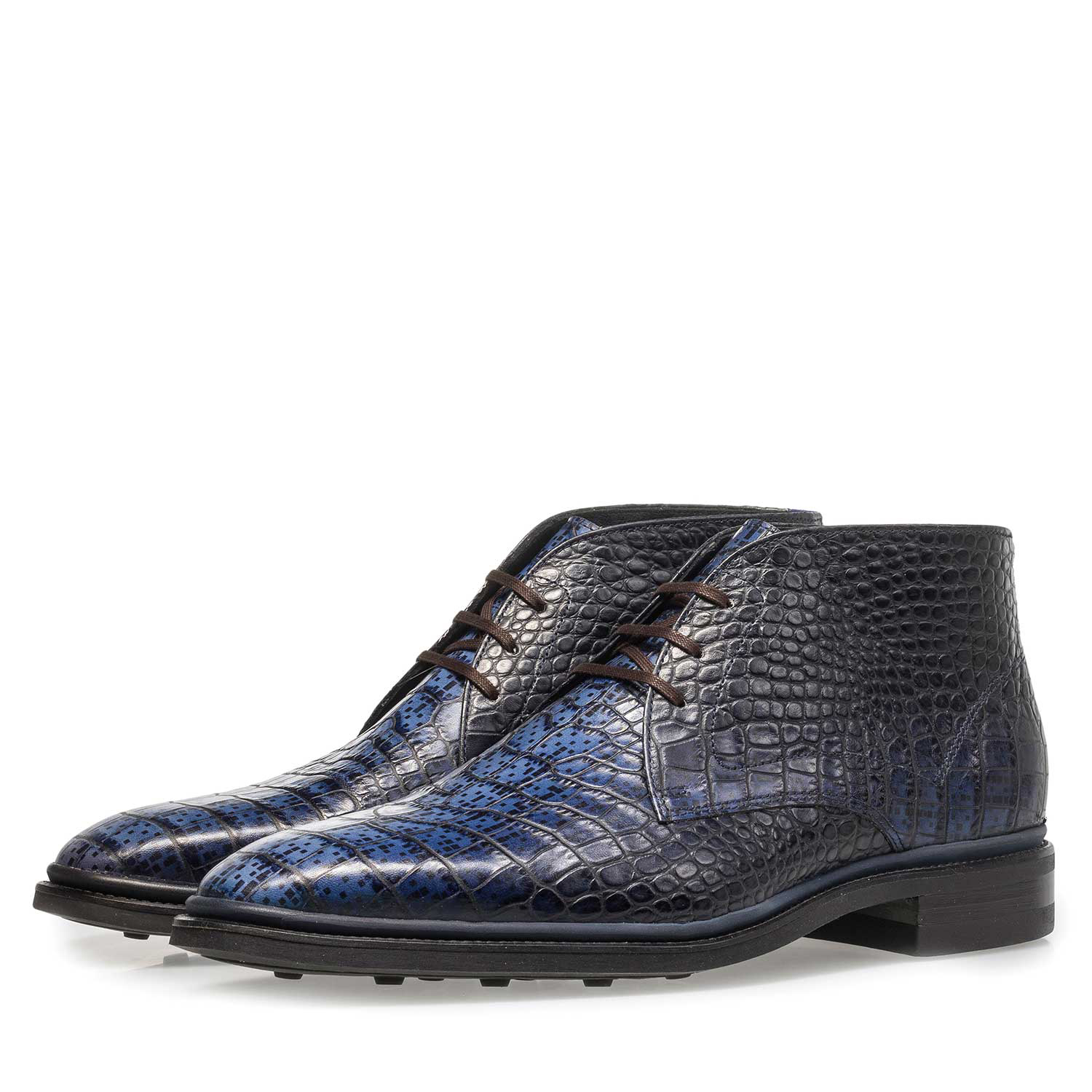 10623/02 - Premium blue croco leather lace shoe
