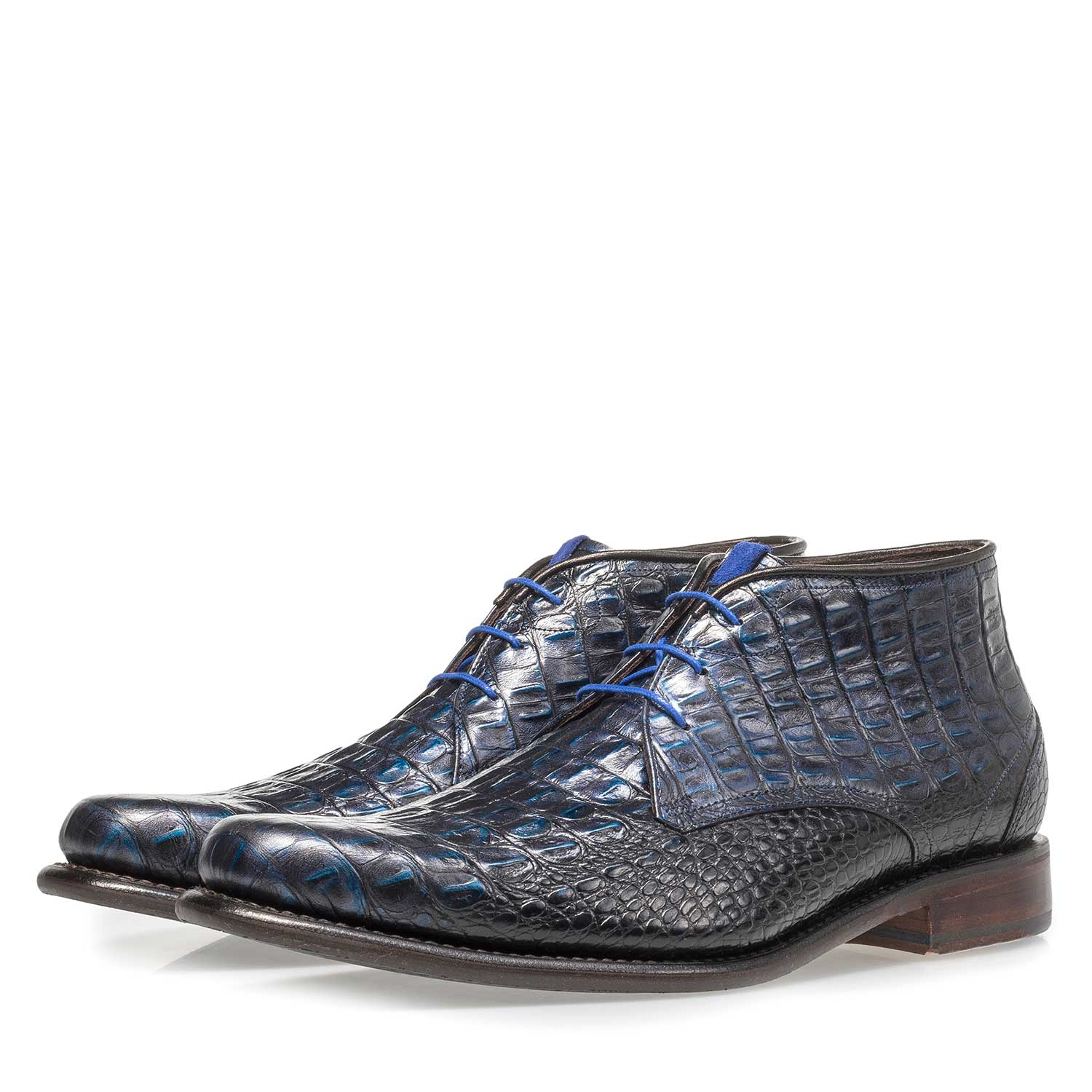 10634/07 - Blue leather lace boot with croco print