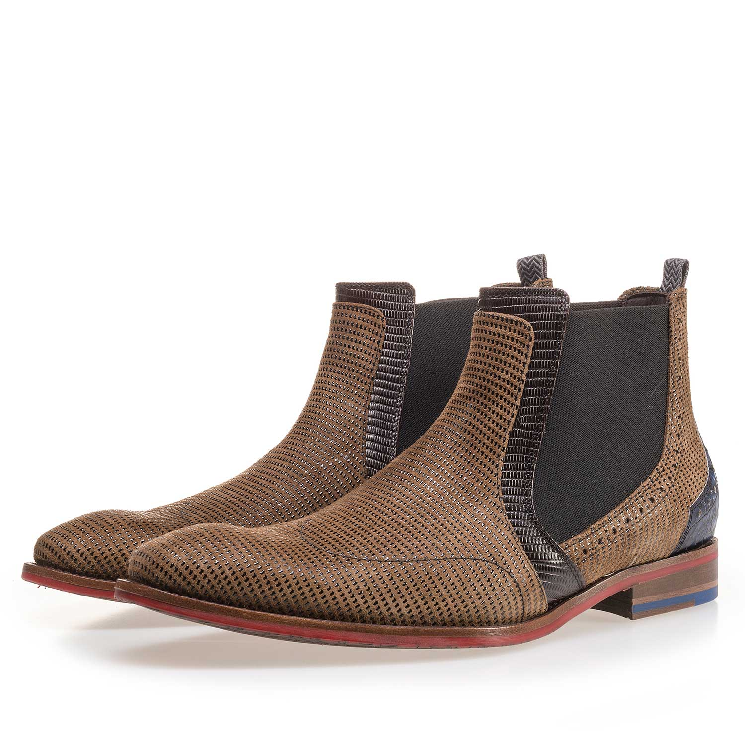10455/01 - Camel-coloured Chelsea boot made of suede leather