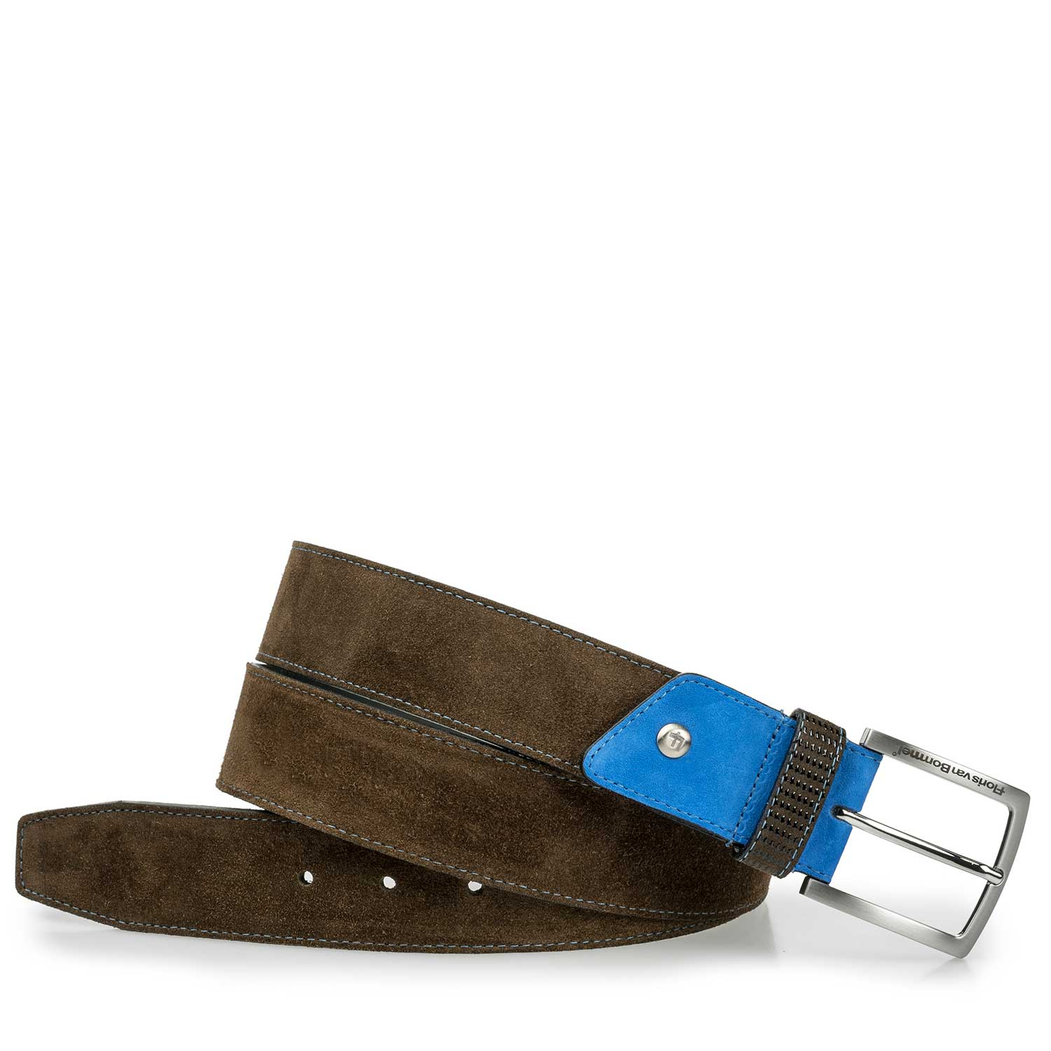 75192/02 - Olive green suede leather belt with a black pattern