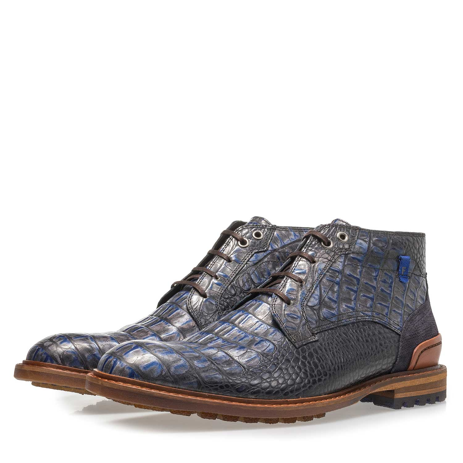 20228/23 - Blue leather lace boot with croco print