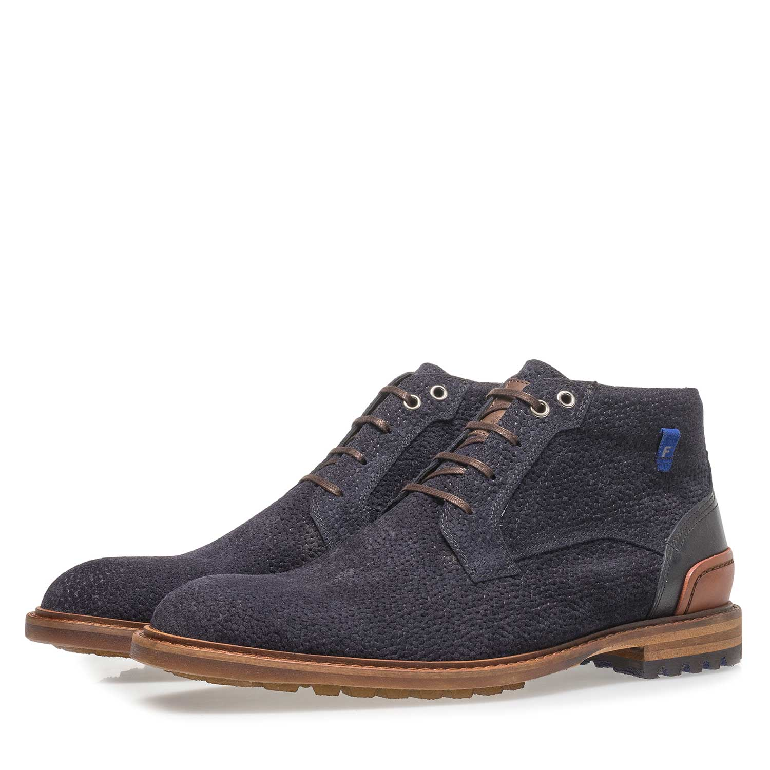 20228/25 - Dark blue printed suede leather lace boot