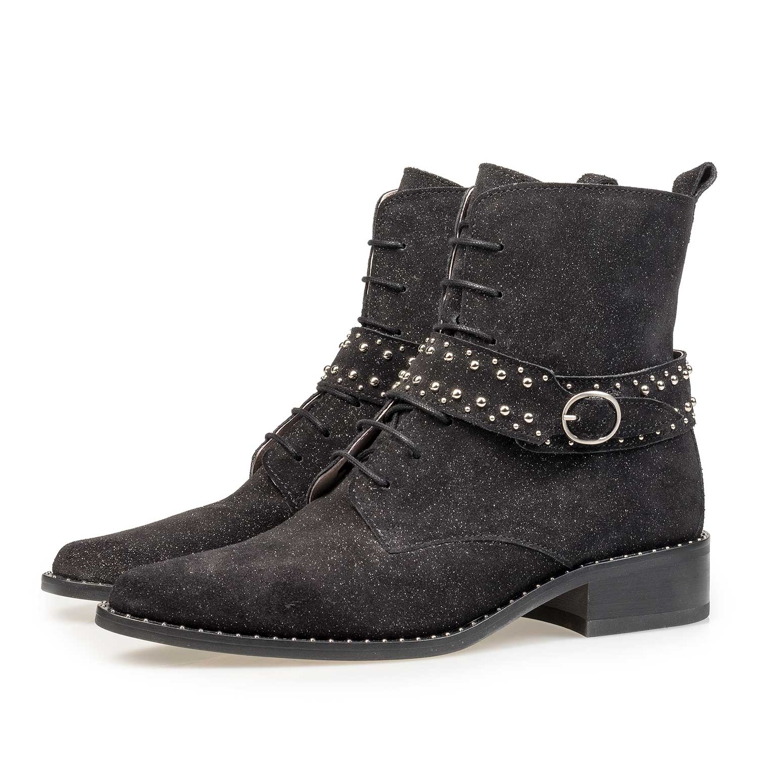 85618/01 - Black suede biker boot with glitter effect