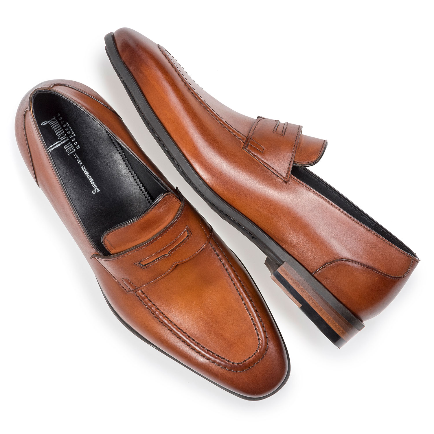 11129/03 - Dark cognac-coloured calf leather loafer