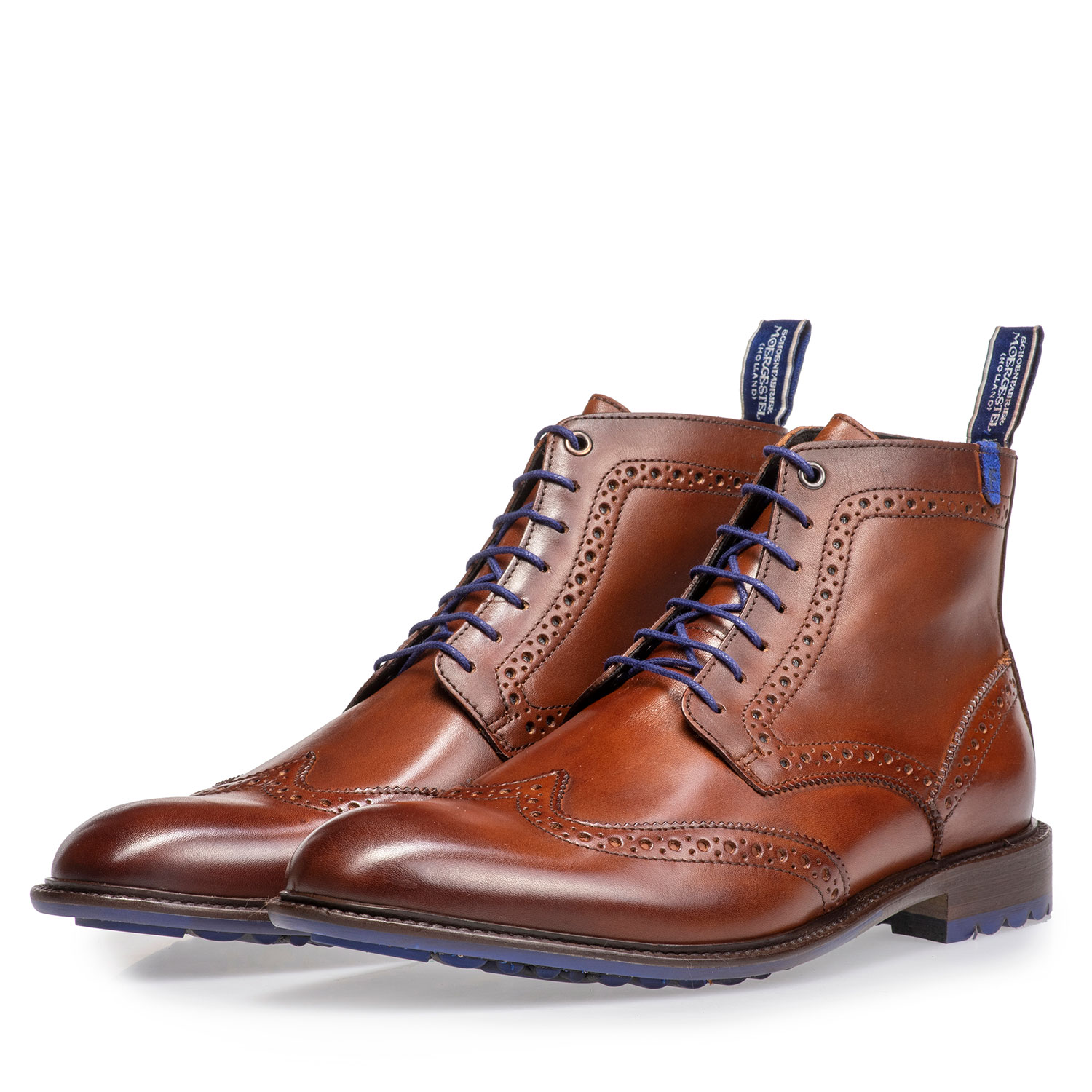 10506/10 - Dark cognac-coloured calf leather lace boot
