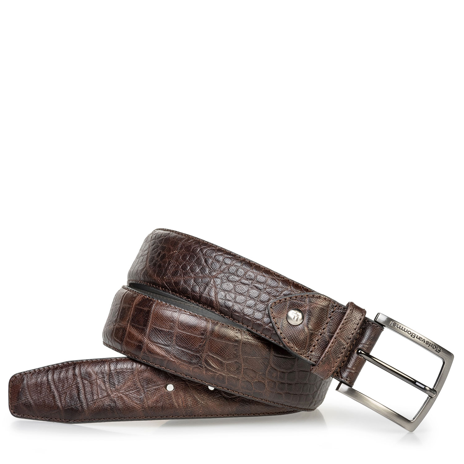 75202/66 - Leather belt croco print brown