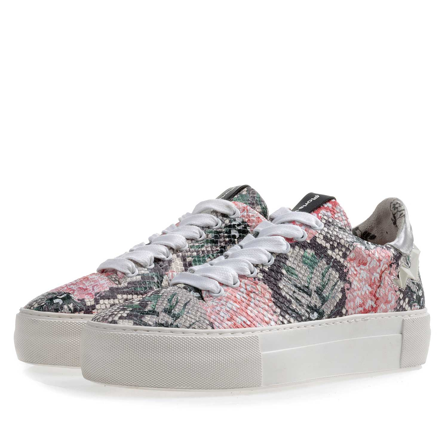 85234/03 - Multi-coloured leather sneaker with printed motif