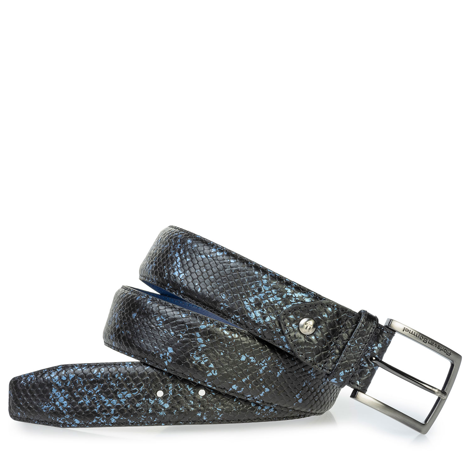 75204/05 - Leather belt with metallic print blue