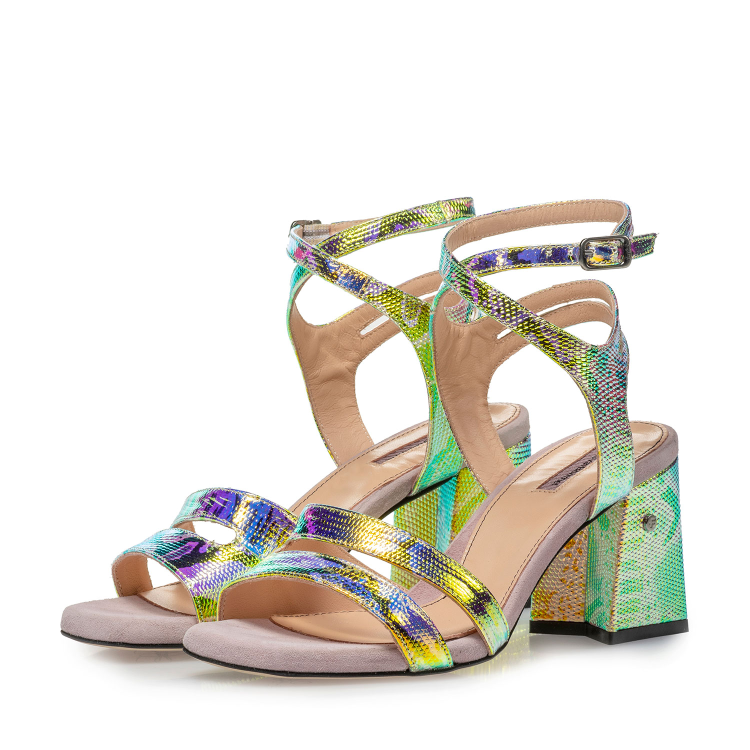 85943/00 - High-heeled leather sandals with green/gold metallic print