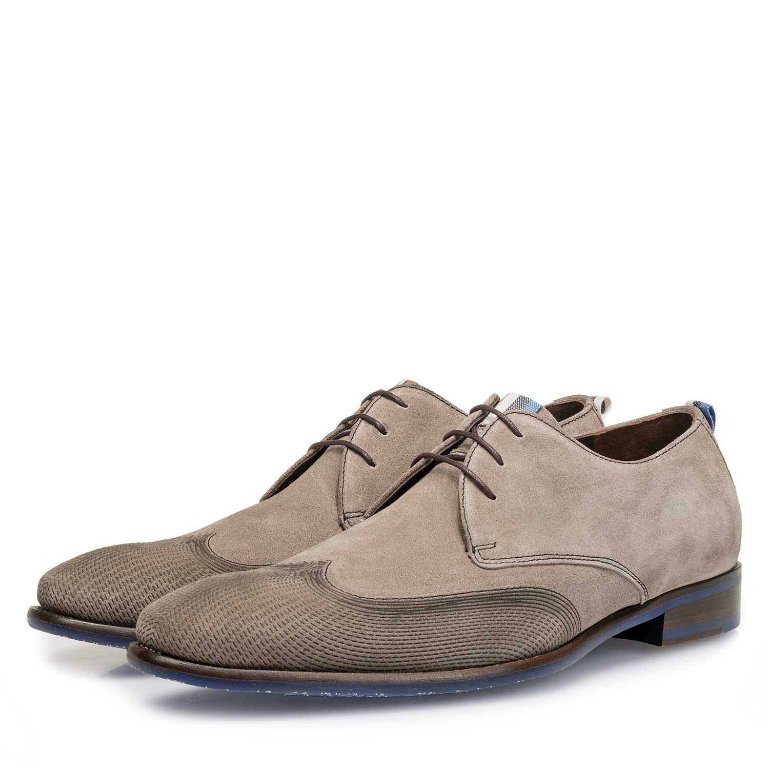 18082/05 - Taupe-coloured calf suede leather lace shoe with a laser-cut pattern