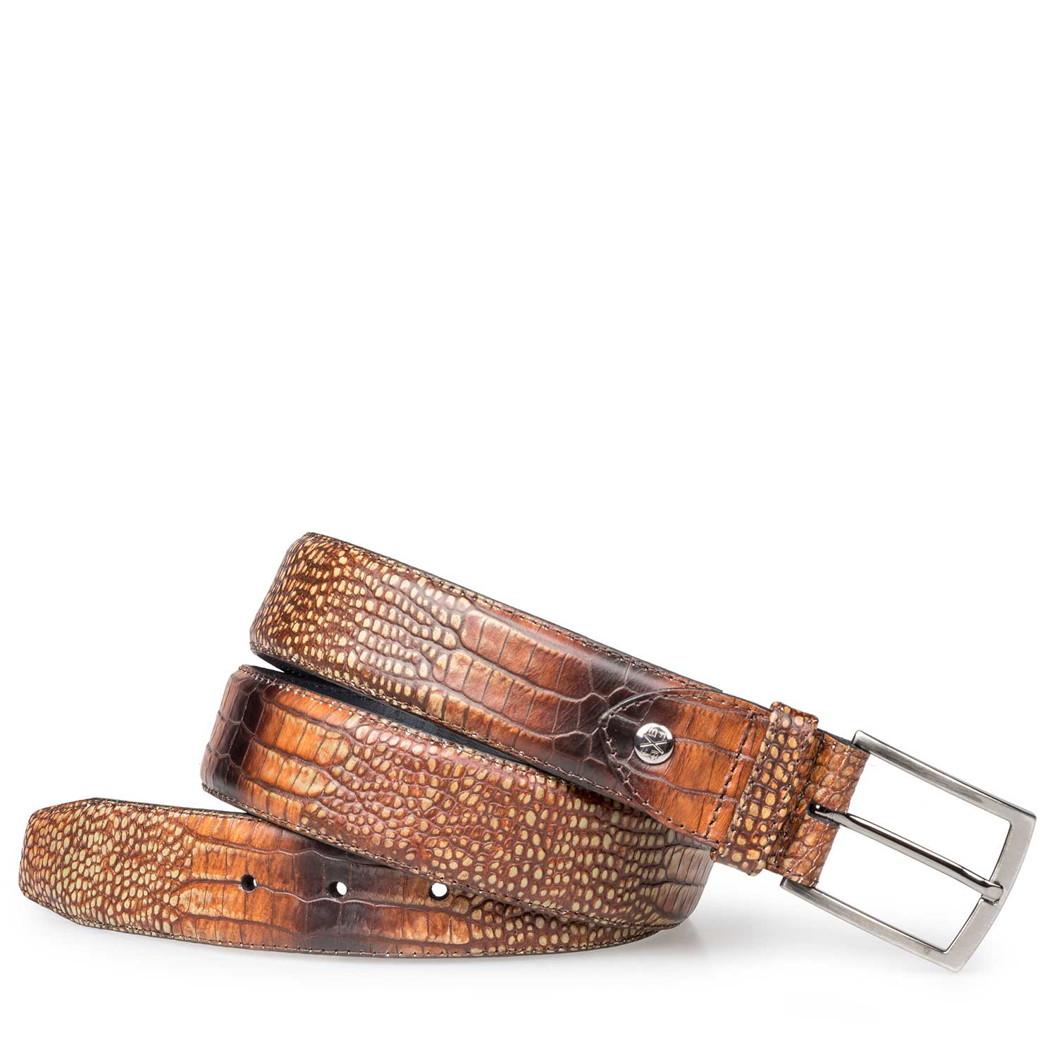 75190/47 - Cognac-coloured calf leather belt with croco print