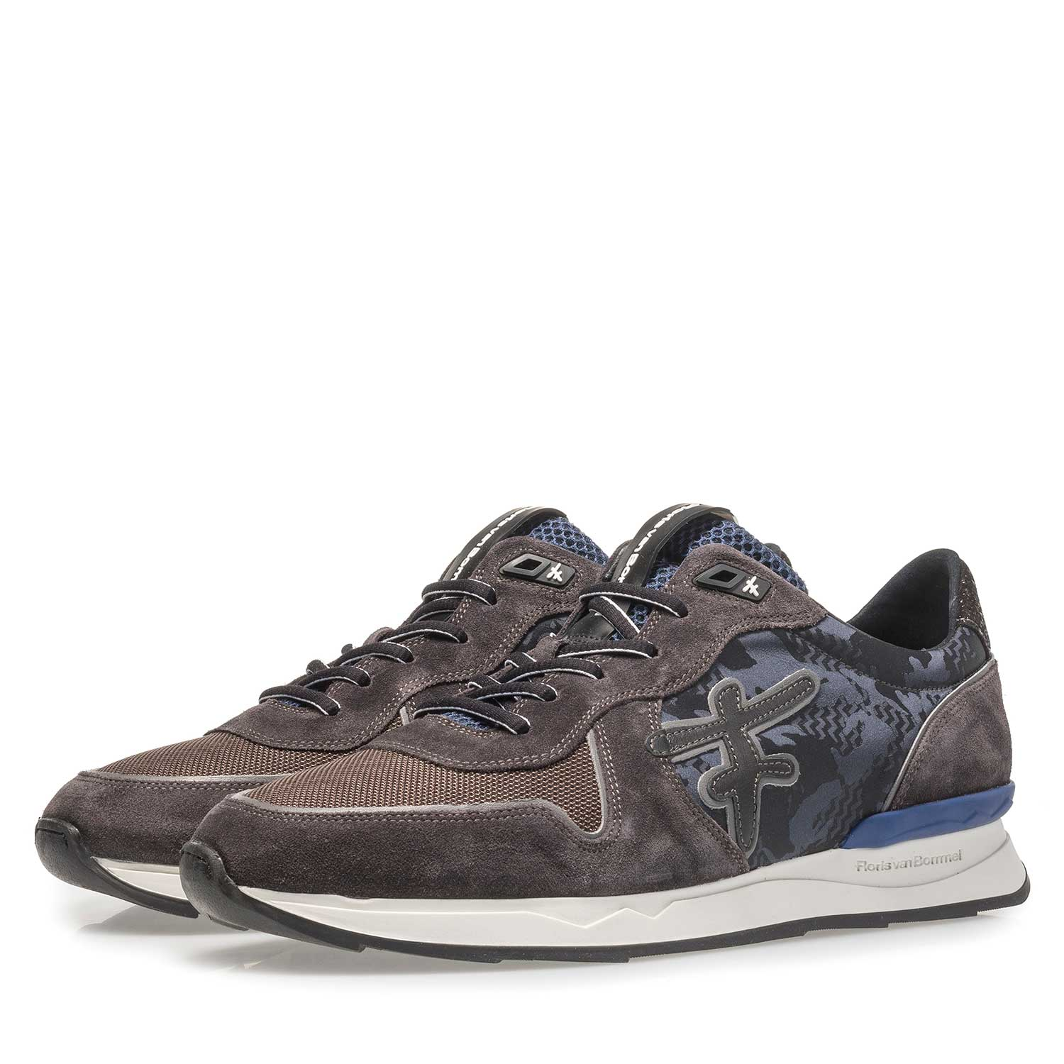 16246/22 - Dark grey printed suede leather sneaker