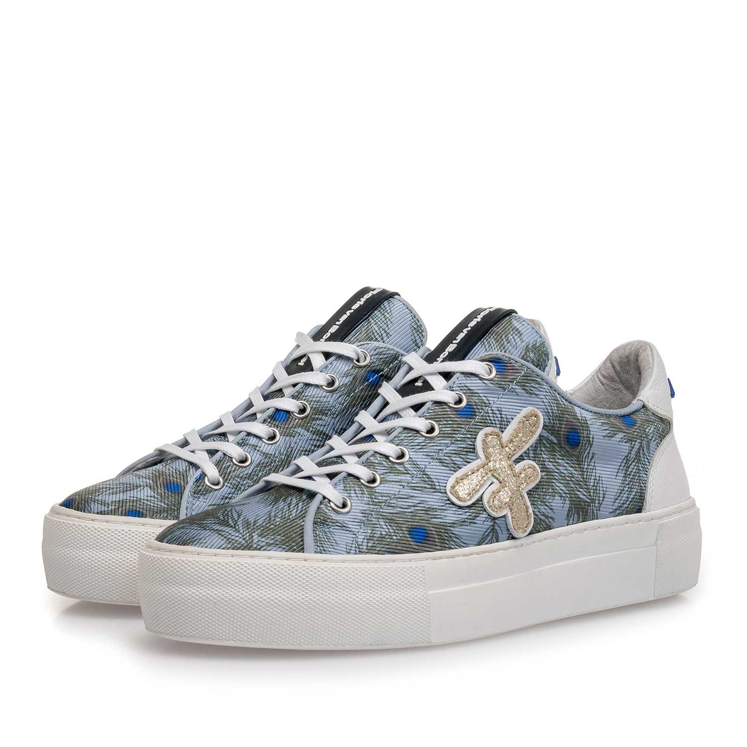 85267/01 - Light blue suede sneaker with fabric parts