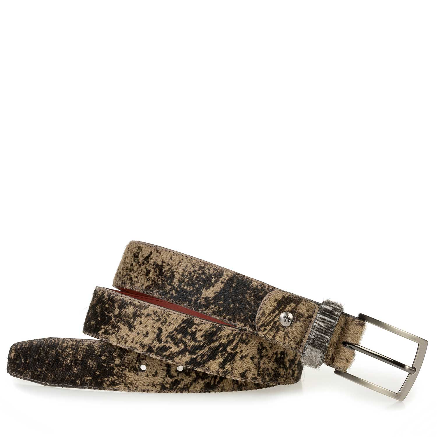 75188/34 - Brown pony hair belt with a print