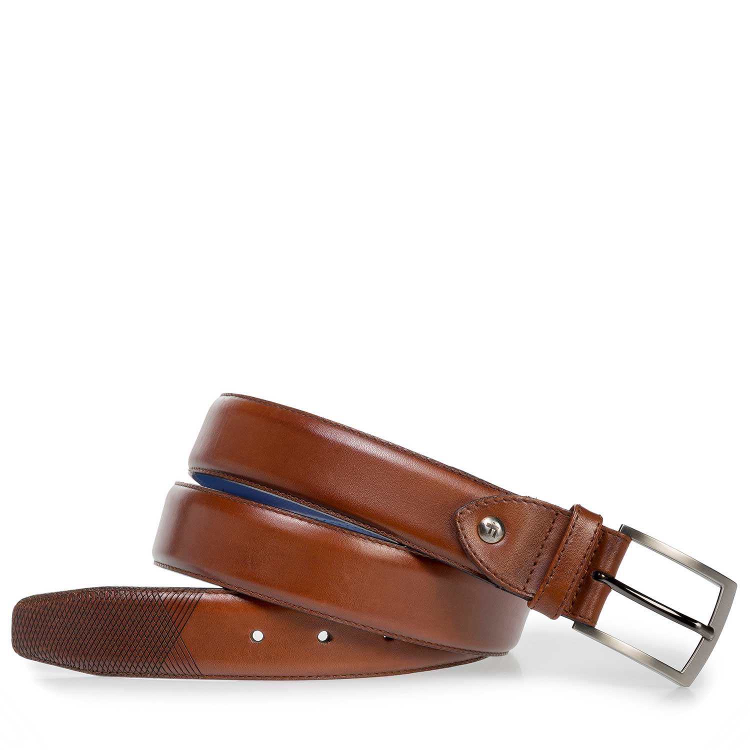 75211/00 - Cognac-coloured leather belt with laser print