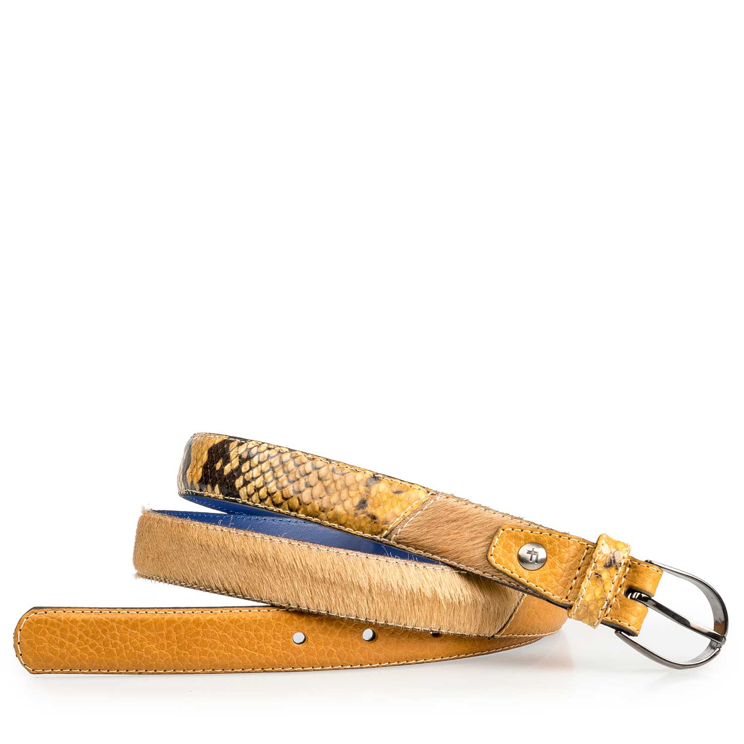 75814/11 - Ochre yellow leather belt with pony hair