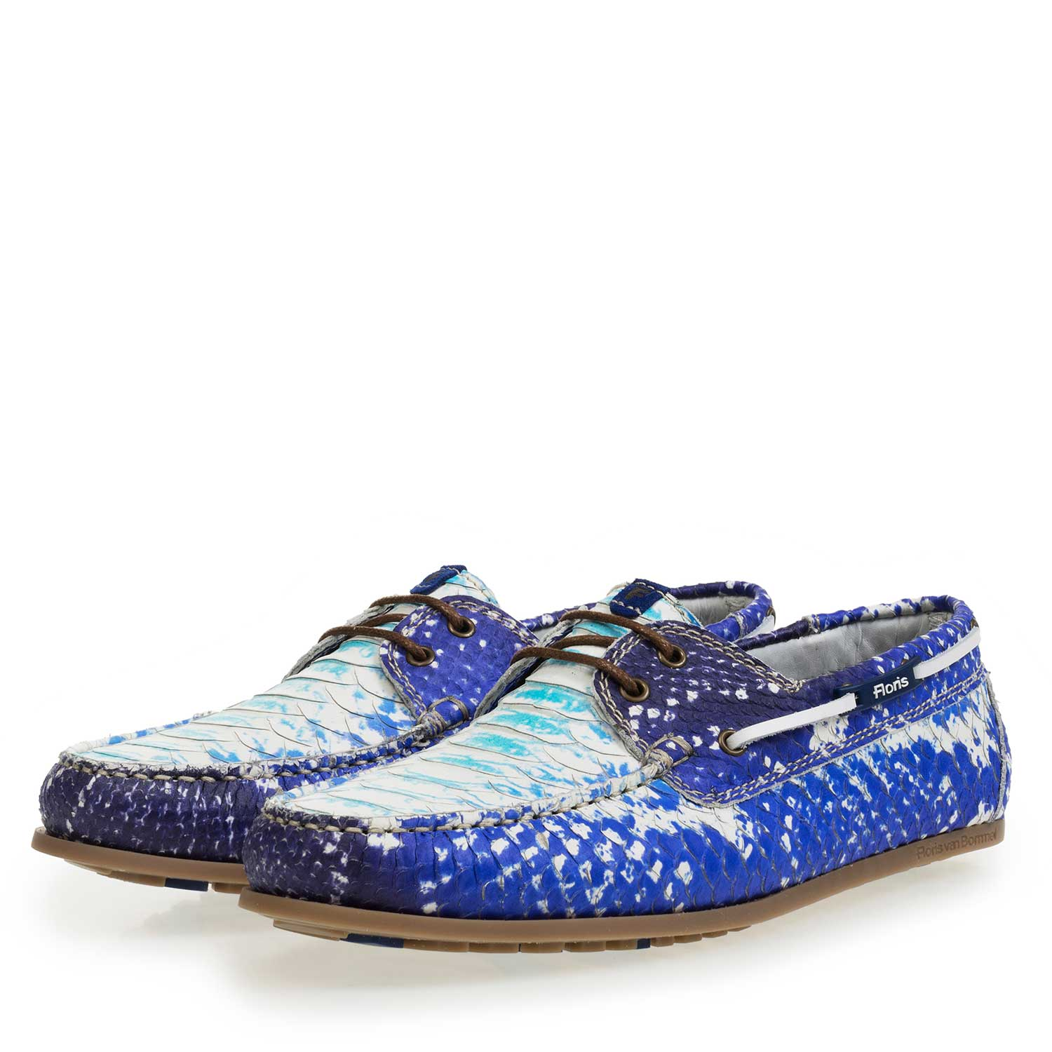15035/03 - Blue leather boat shoe with snake print