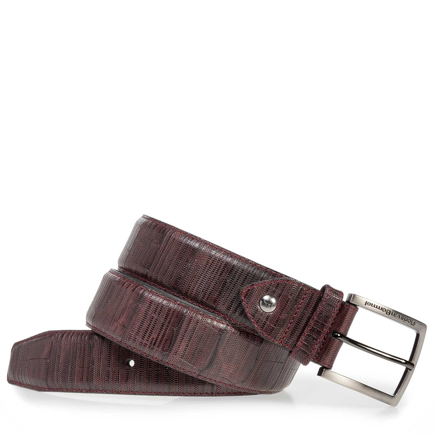 75202/03 - Burgundy red leather belt with print