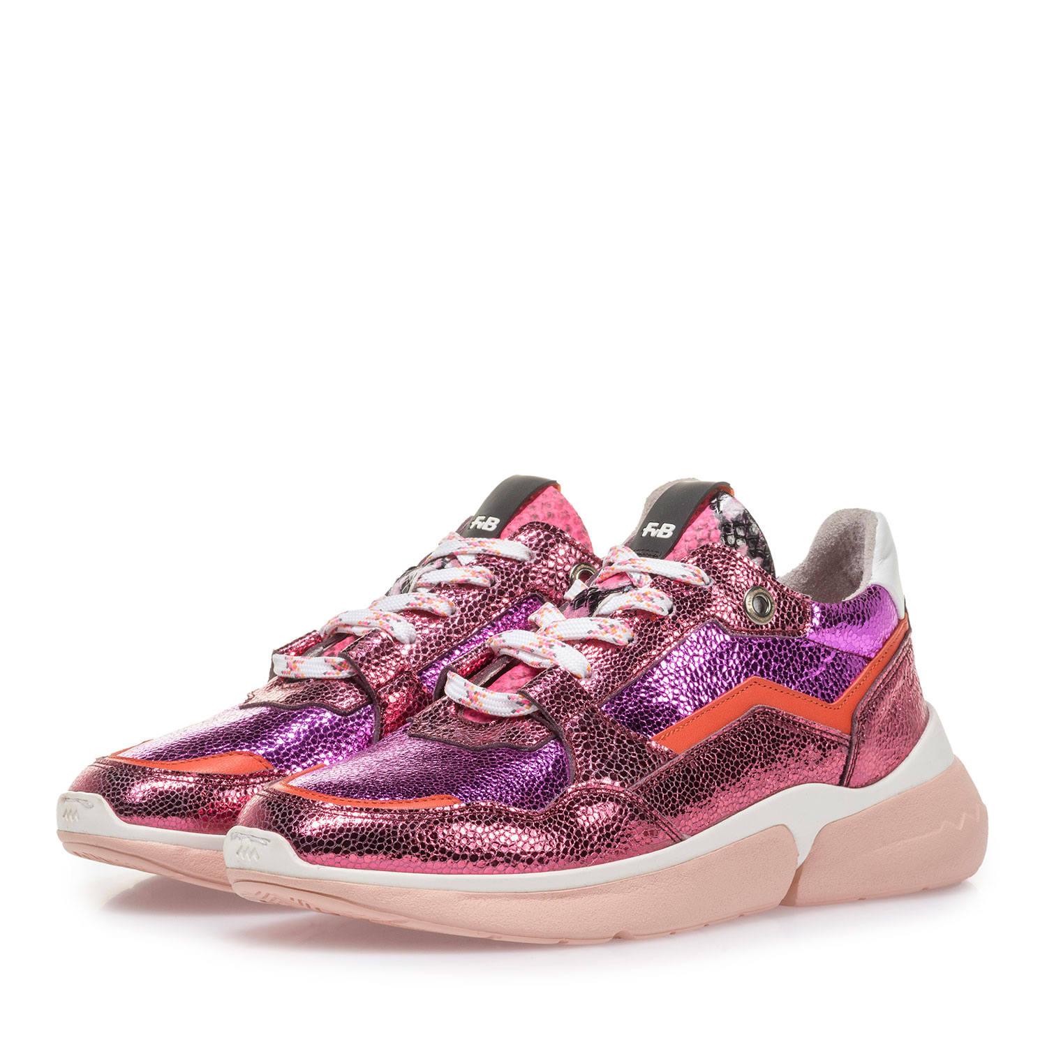 85291/14 - Pink leather sneaker with metallic print
