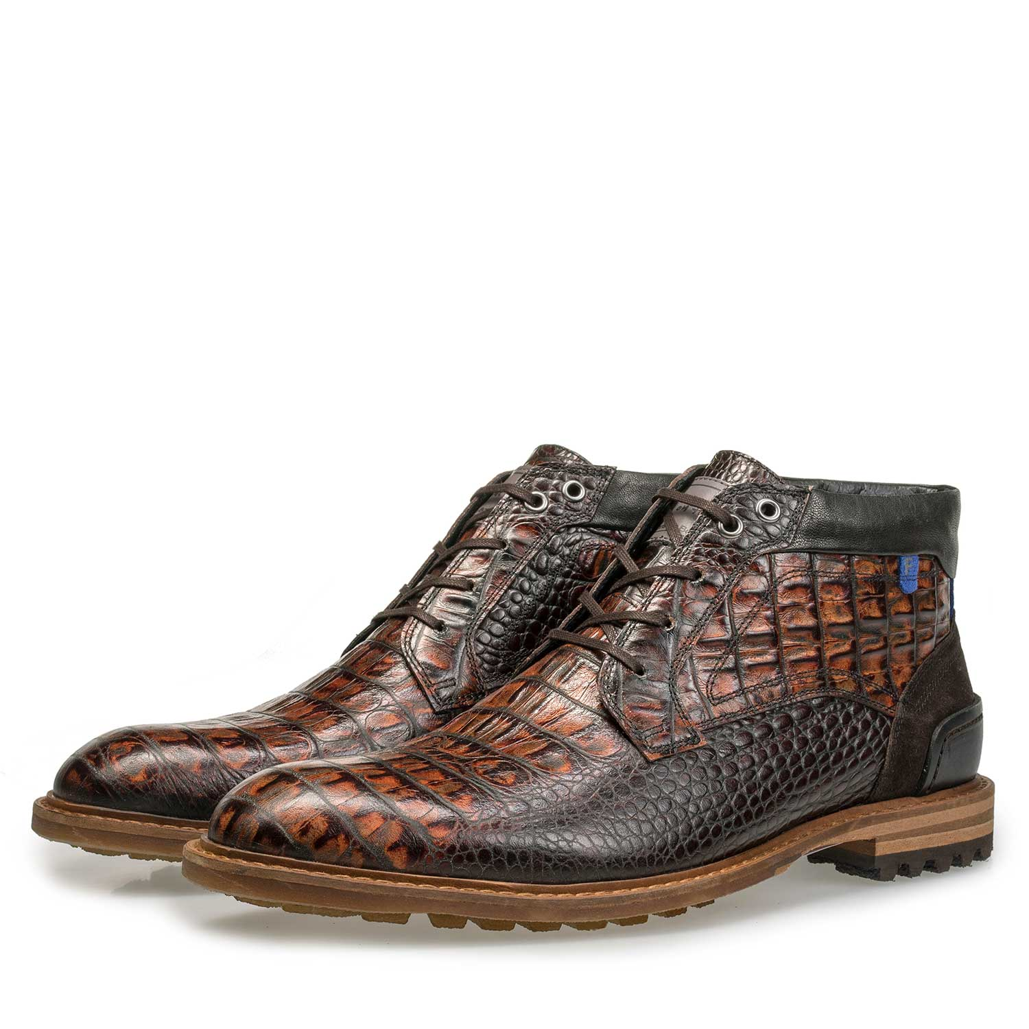 10228/12 - Mid-high brown leather lace boot with croco print