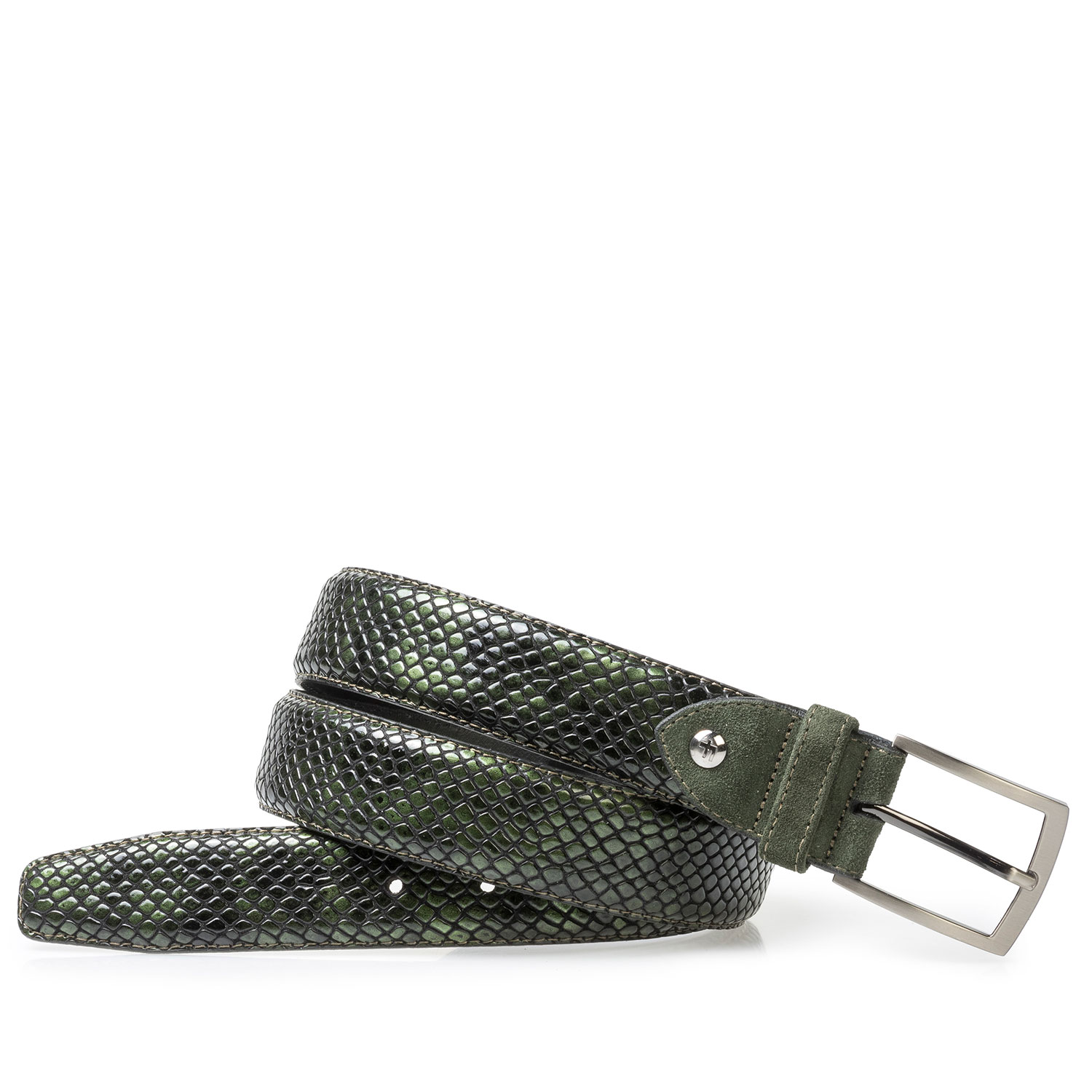 75212/02 - Green printed patent leather belt