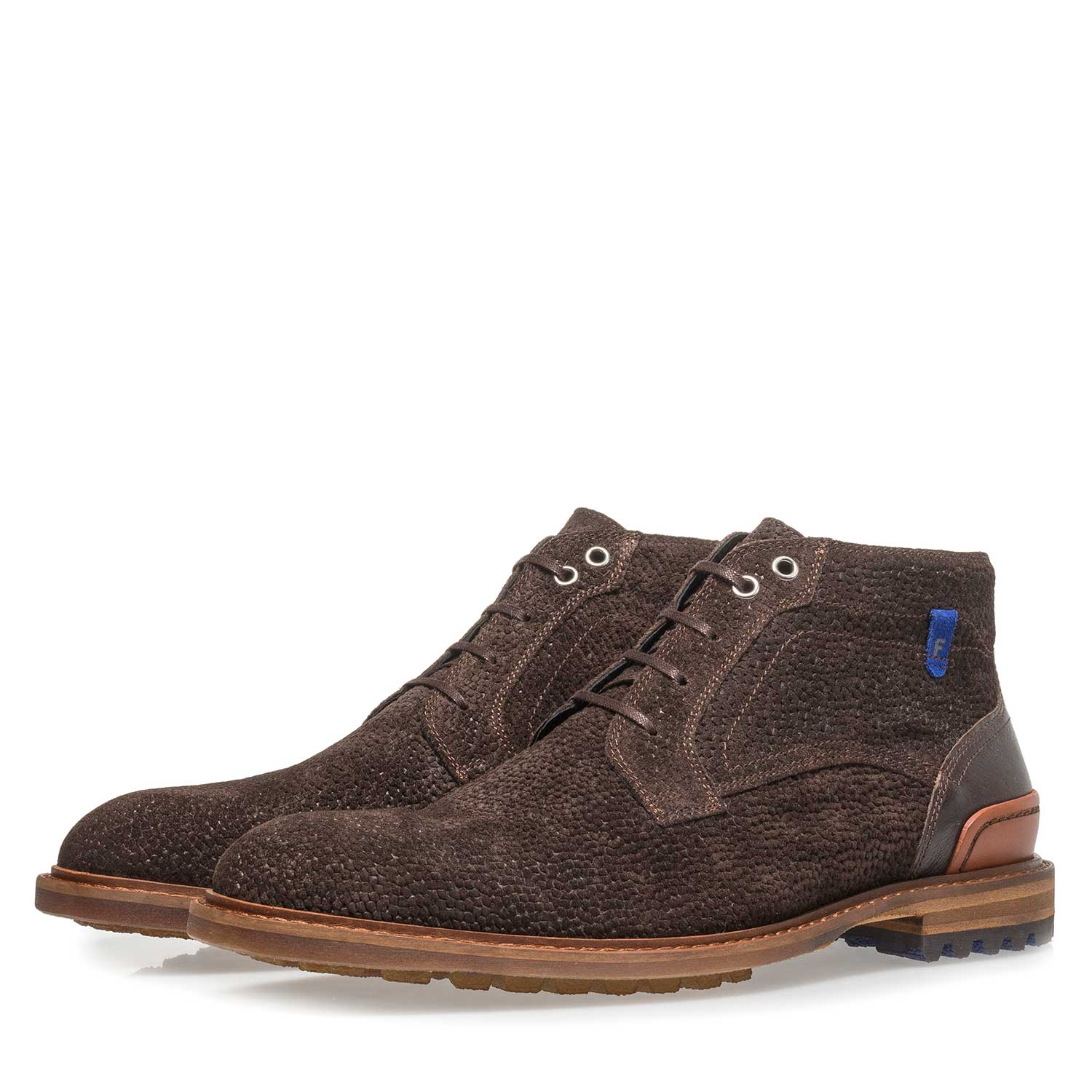 20228/29 - Dark brown printed suede leather lace boot