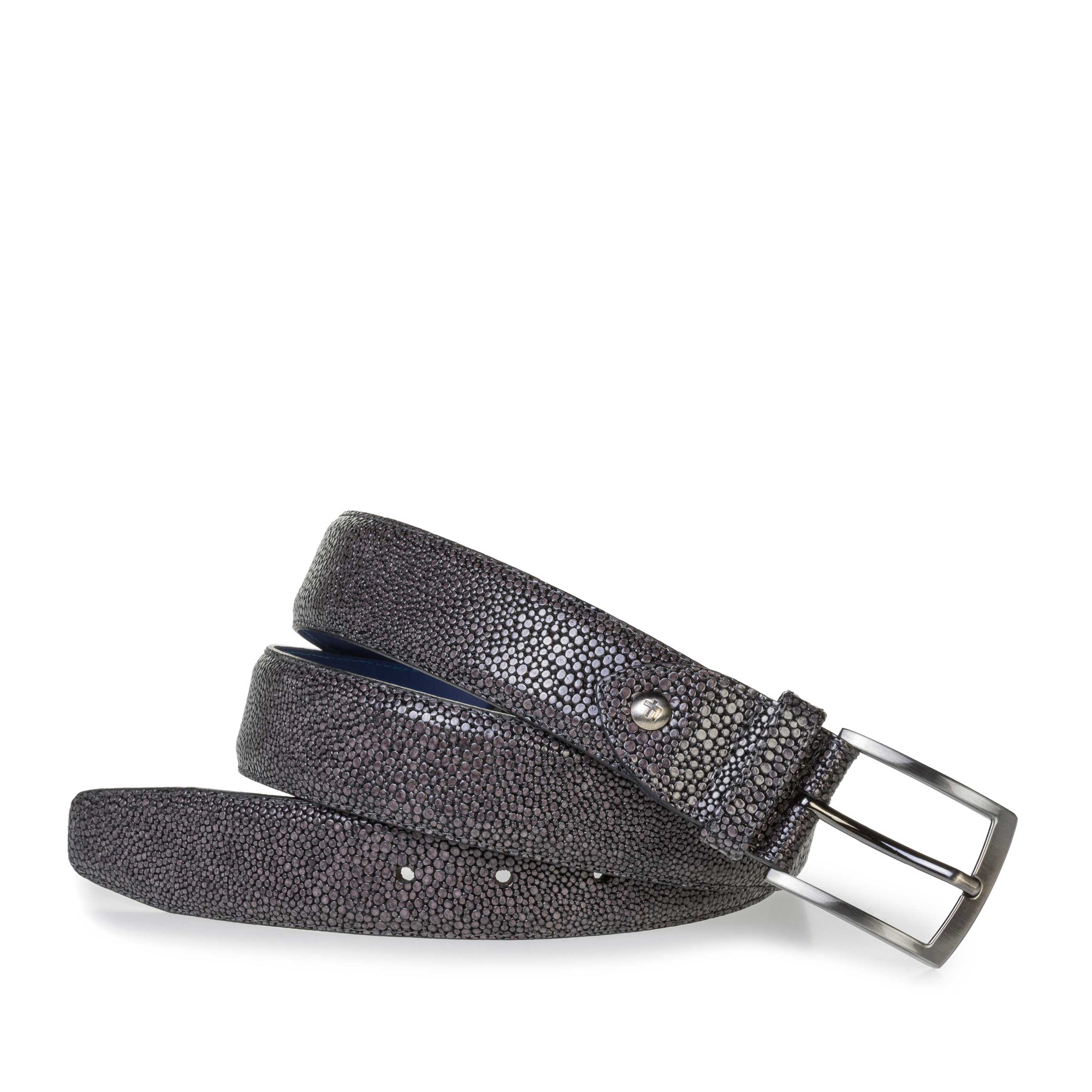75200/92 - Grey leather belt with metallic print