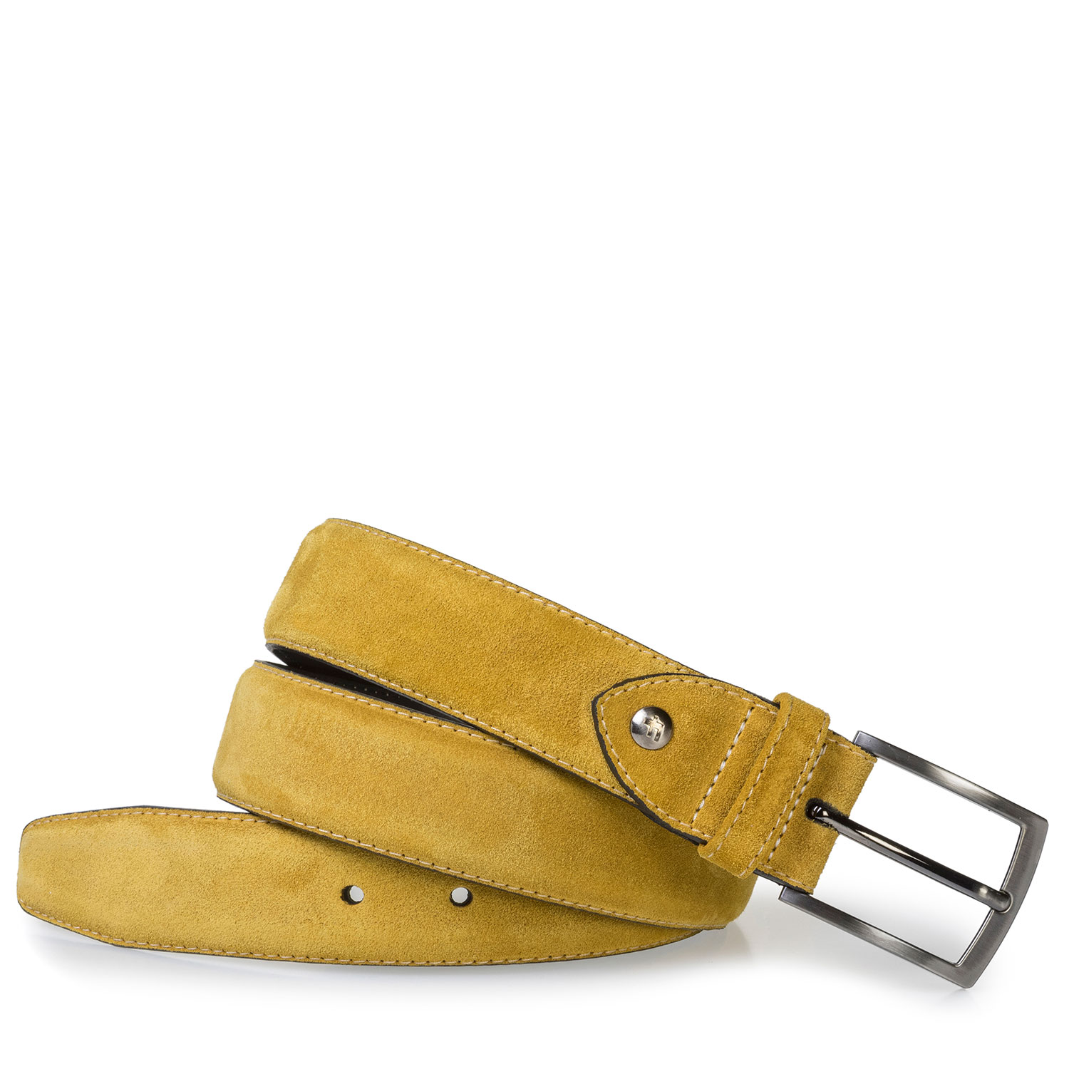 75201/95 - Mustard yellow belt made of waxed suede leather