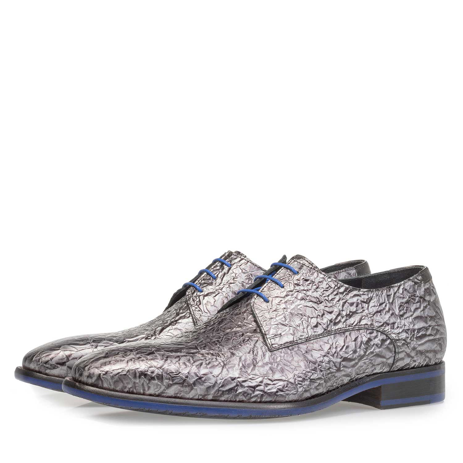 18097/06 - Premium dark grey printed patent leather lace shoe