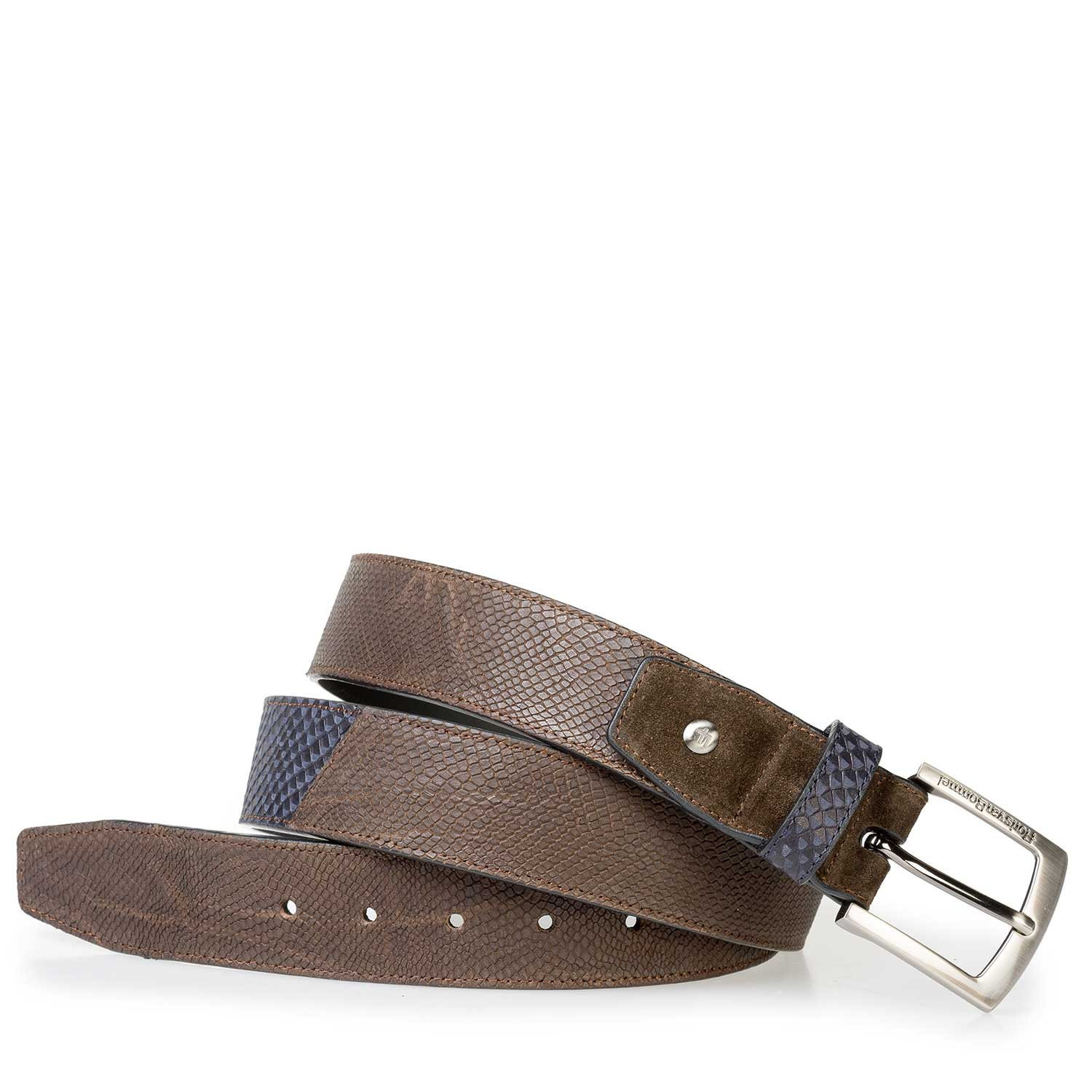 75161/18 - Brown nubuck leather belt with structural pattern