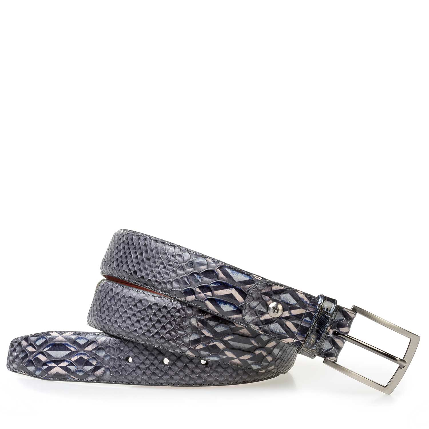75188/25 - Grey calf leather belt with a snake print