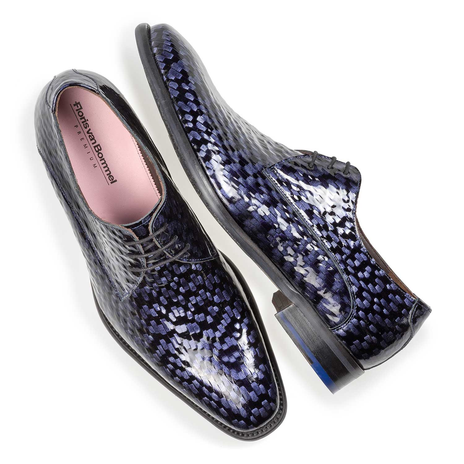 18123/02 - Premium blue printed patent leather lace shoe