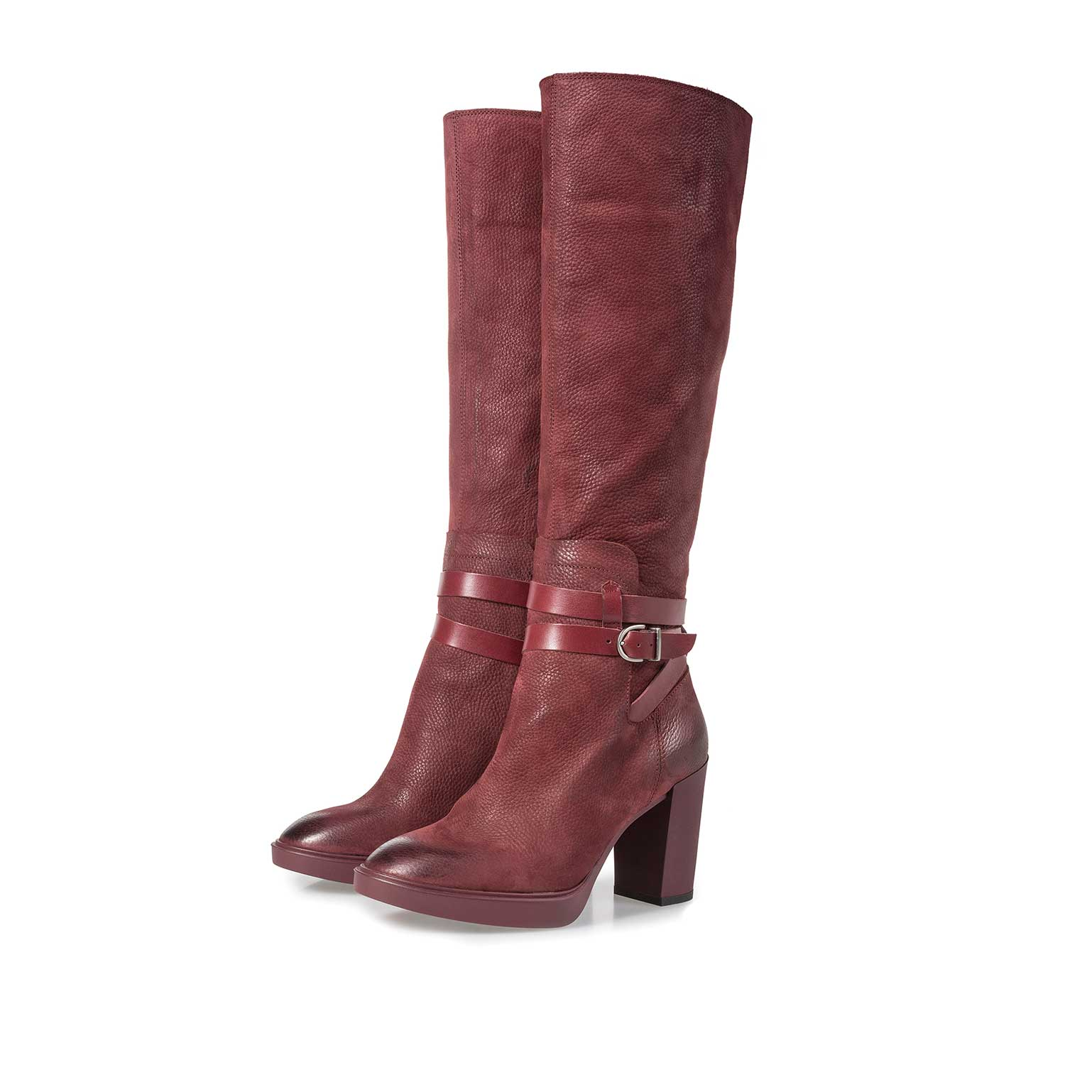 85713/00 - Burgundy red nubuck leather high boots with a print