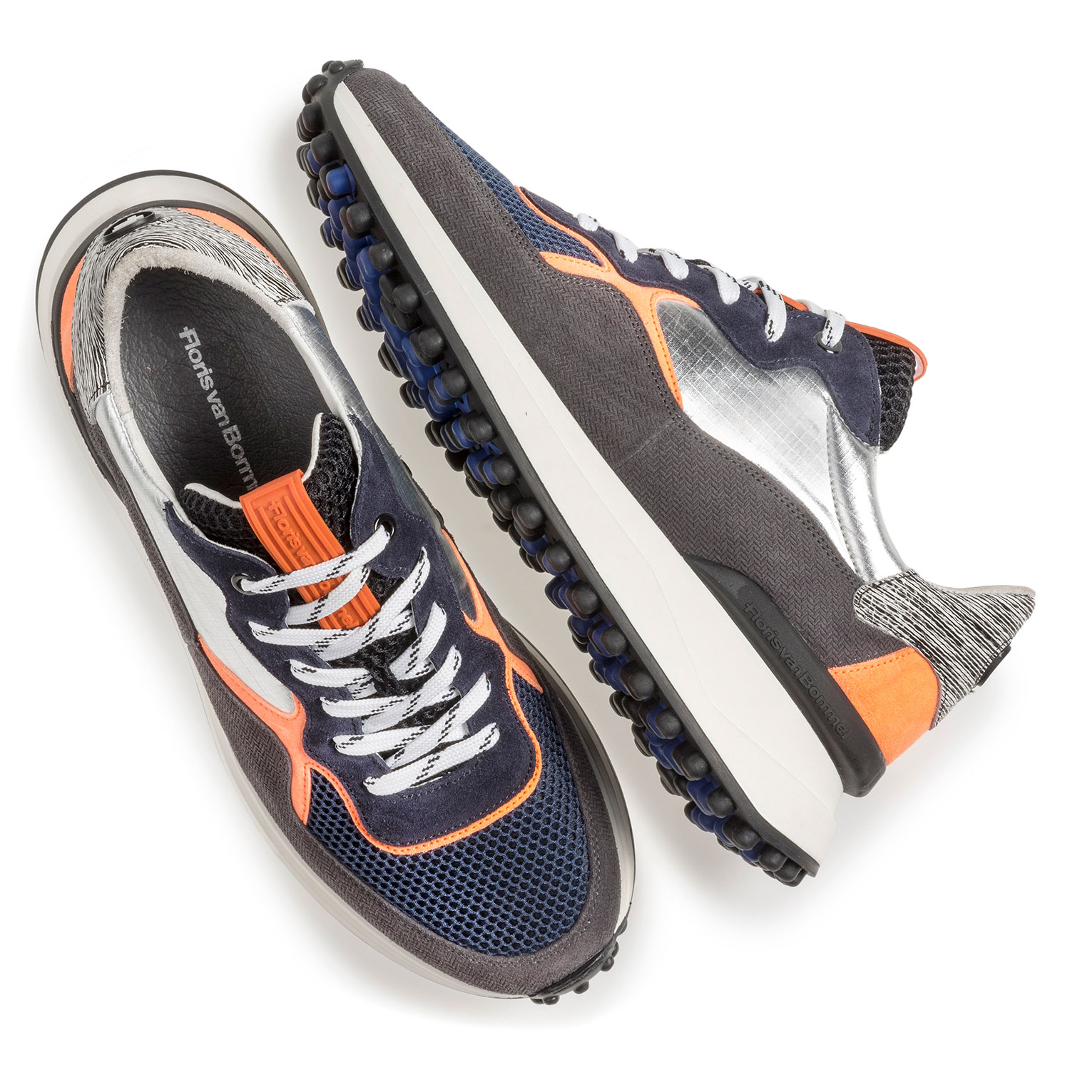 16301/20 - Suede leather sneaker with orange details