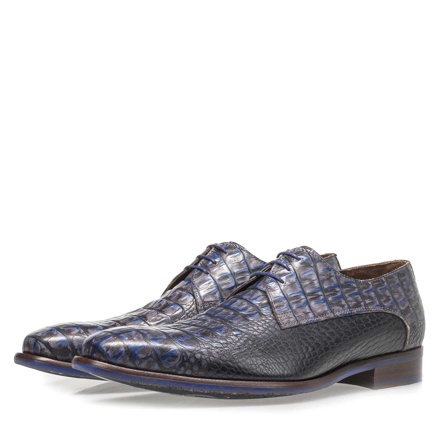 18159/03 - Blue leather lace shoe with croco print