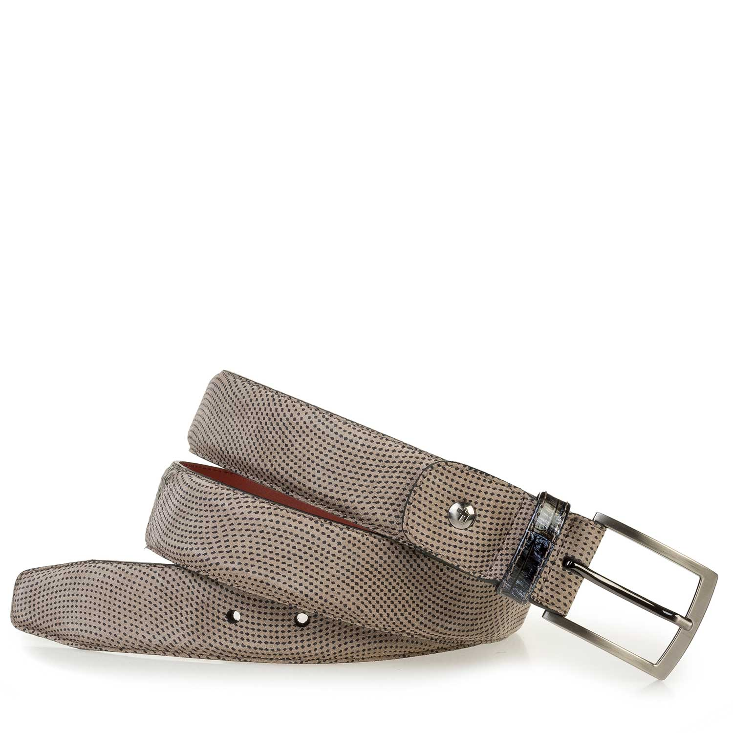 75188/32 - Light taupe-colored rough suede leather belt