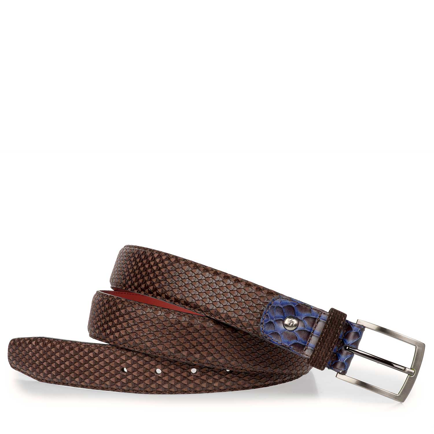 75188/16 - Brown nubuck leather belt with snake print