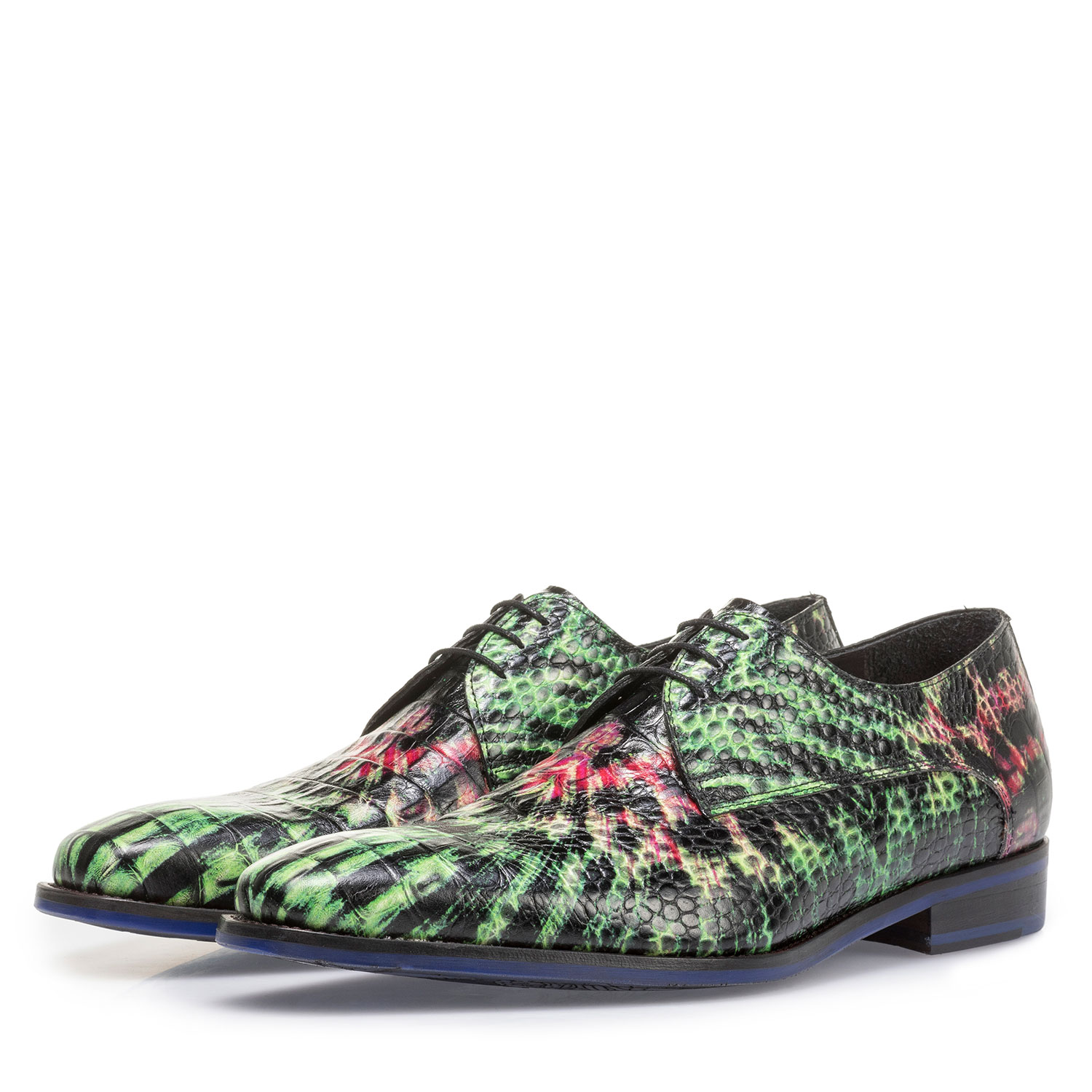 18204/02 - Premium green and pink leather lace shoe