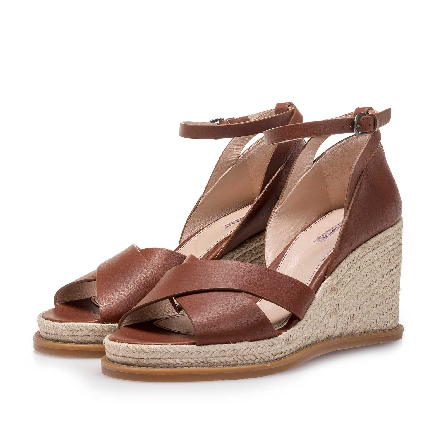 85915/06 - Cognac-coloured wedge-heel leather sandal
