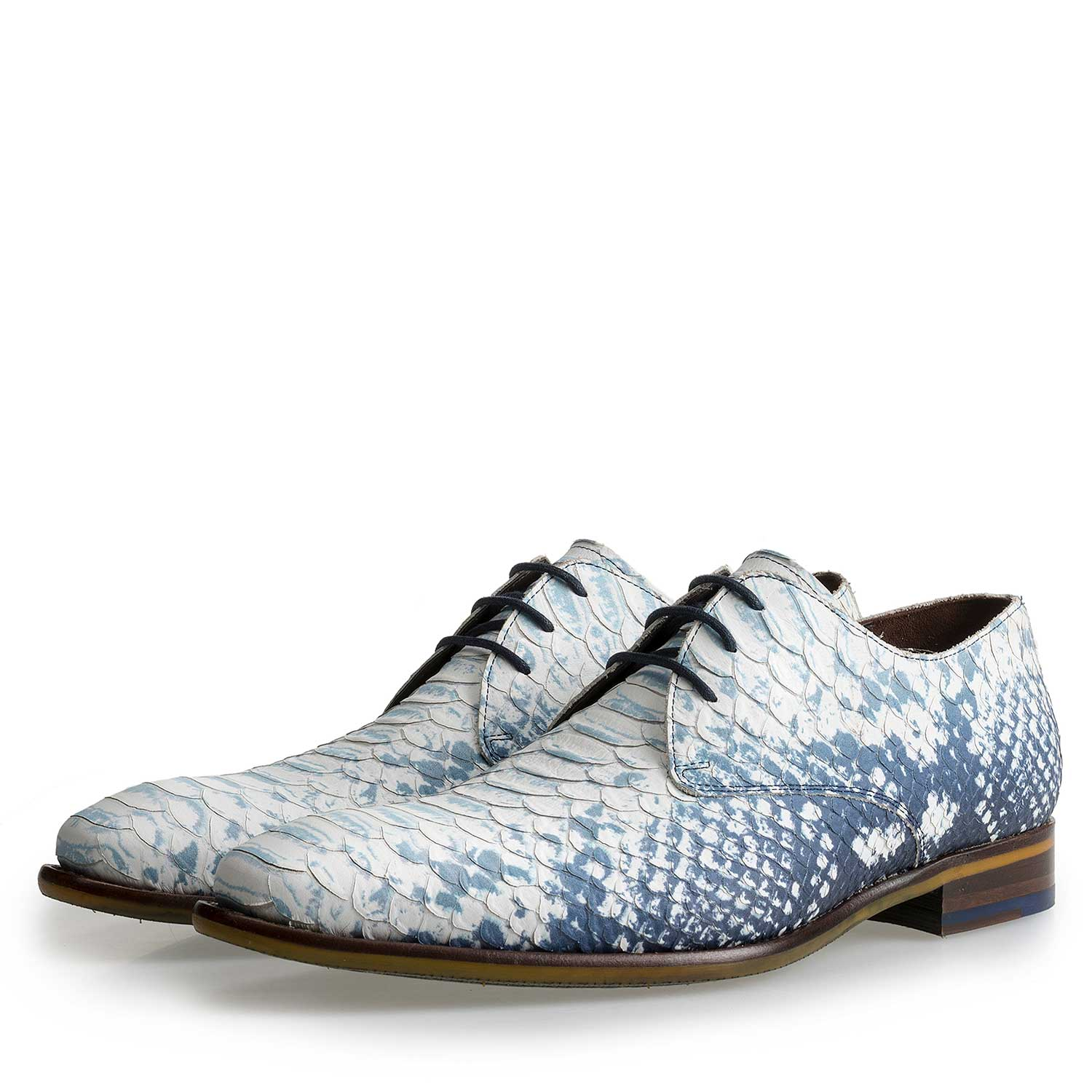 14109/03 - Dark blue leather lace-shoe with a snake print
