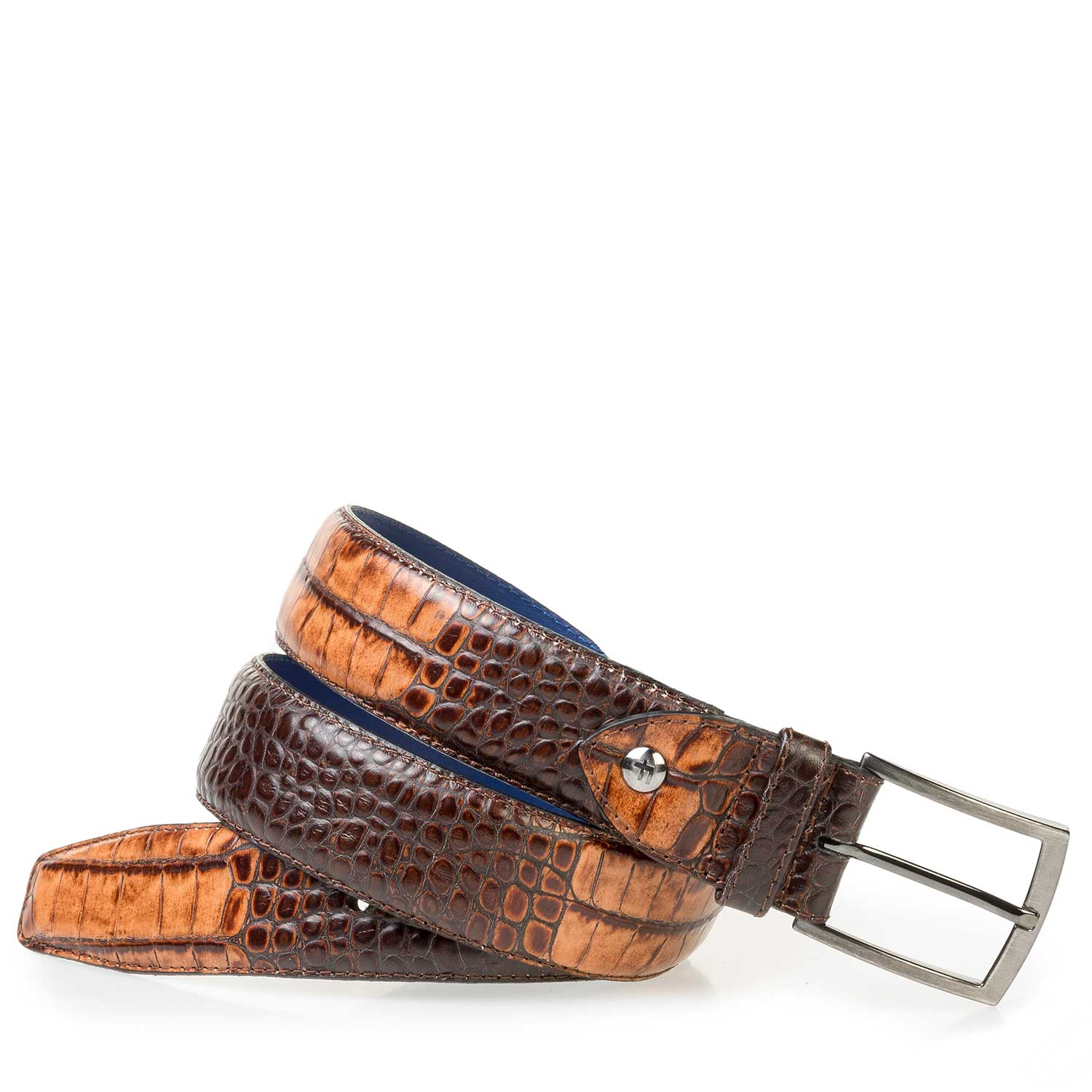 75200/31 - Brown calf leather belt with a croco print