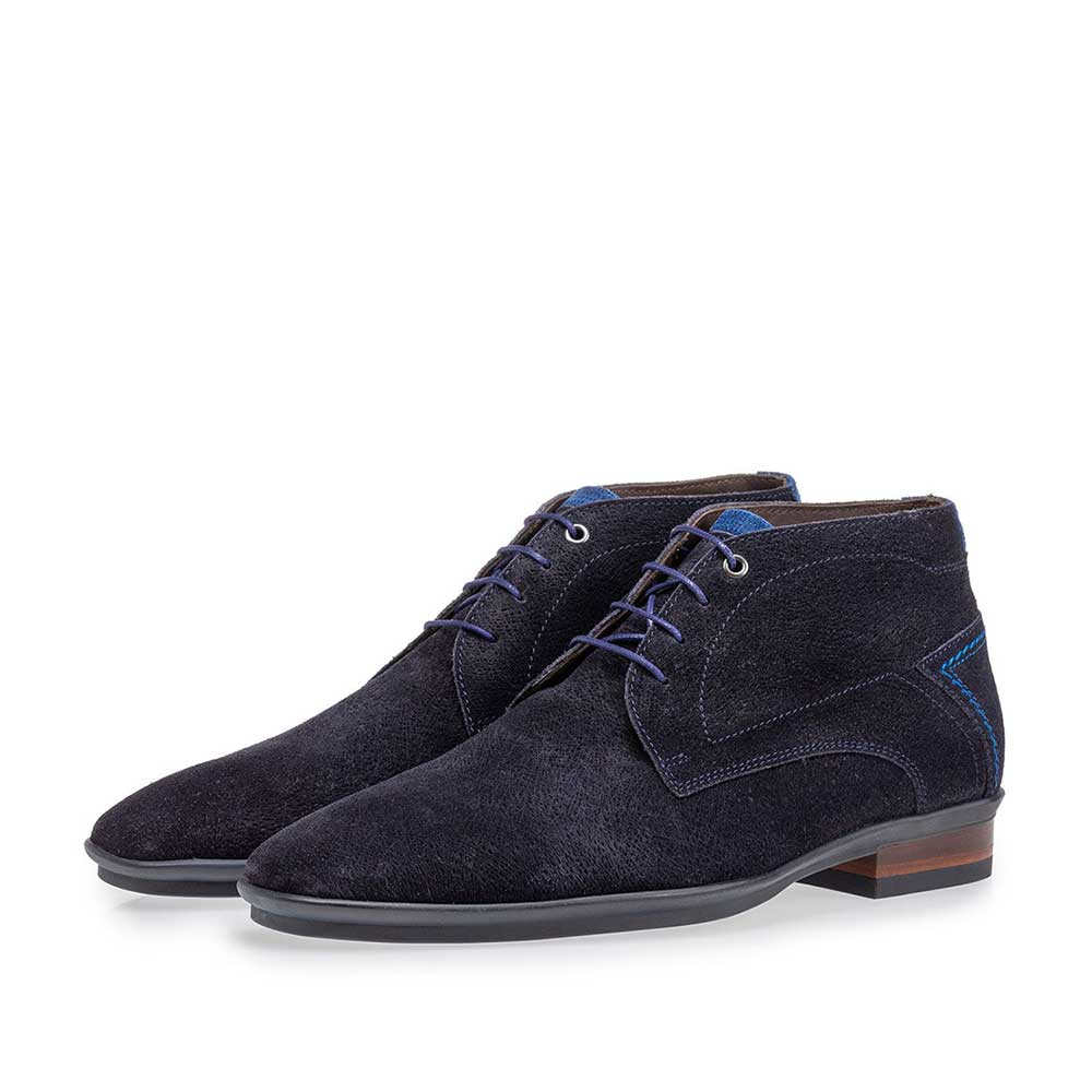 20440/28 - Lace boot blue suede leather